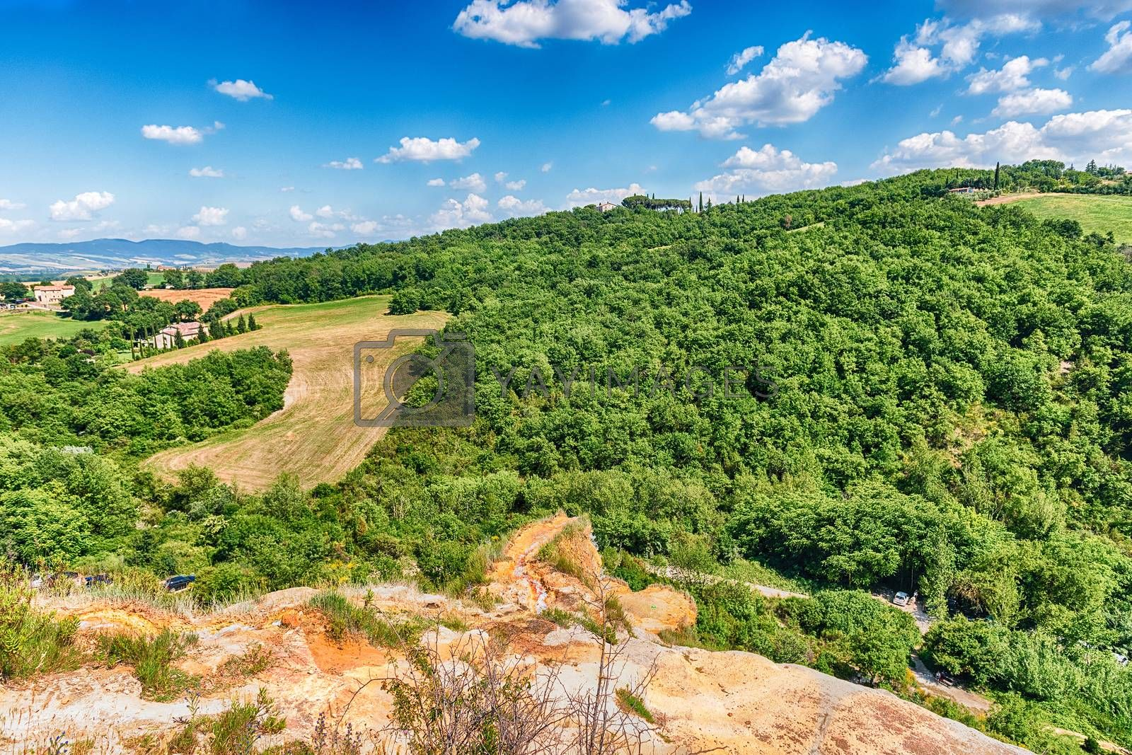 Aerial view of a beautiful landscape around the town of Bagno Vignoni, province of Siena, Tuscany, Italy