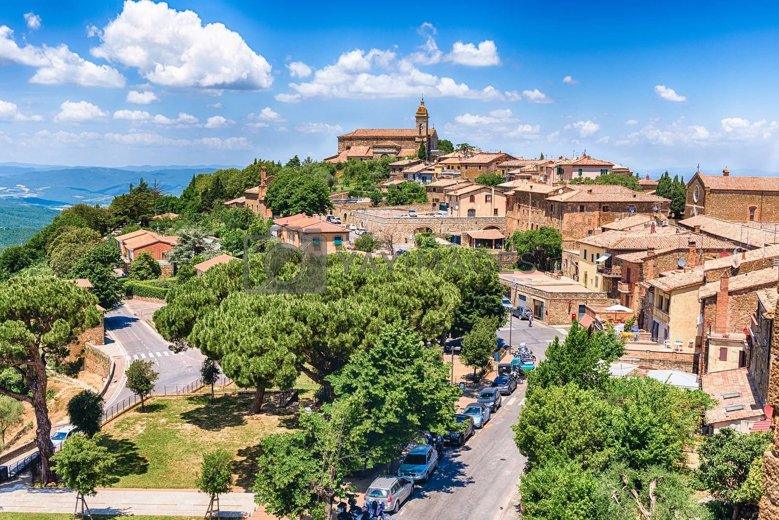 Scenic aerial view over the town of Montalcino, province of Siena, Tuscany, Italy