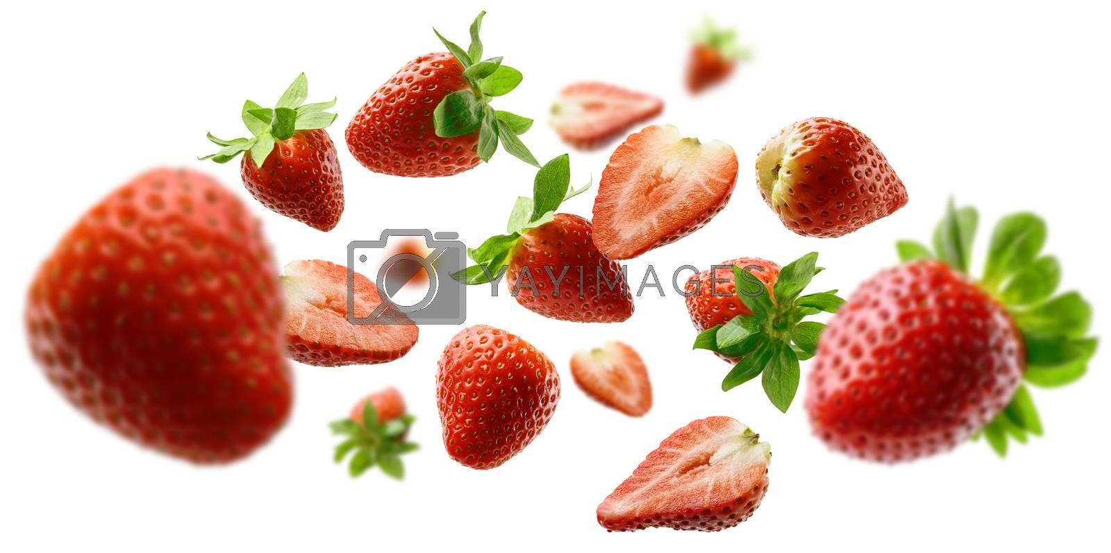 Strawberry berry levitating on a white background.