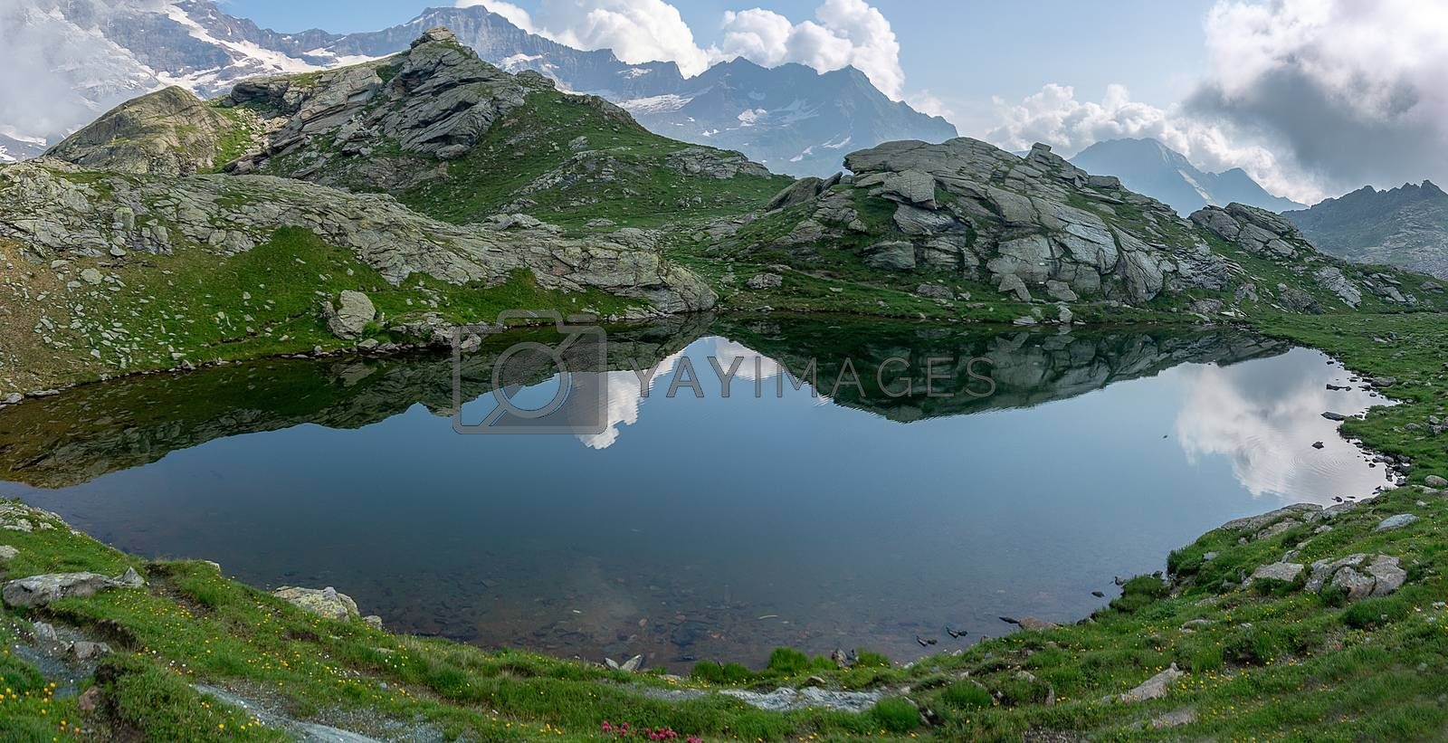 Nature of alpine mountains of europe hiking view