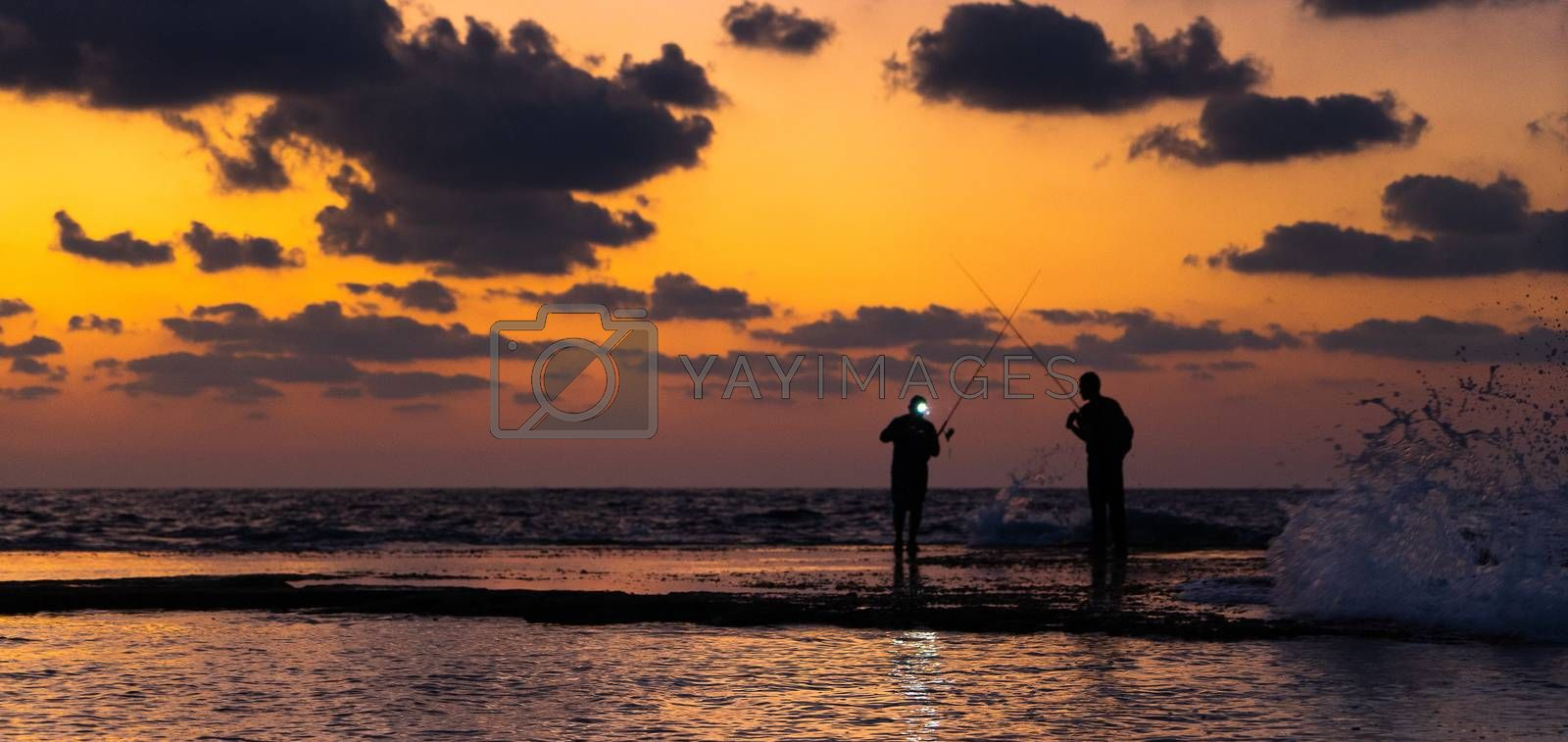 Dramatic colors of sea and sky in mediterranean beach
