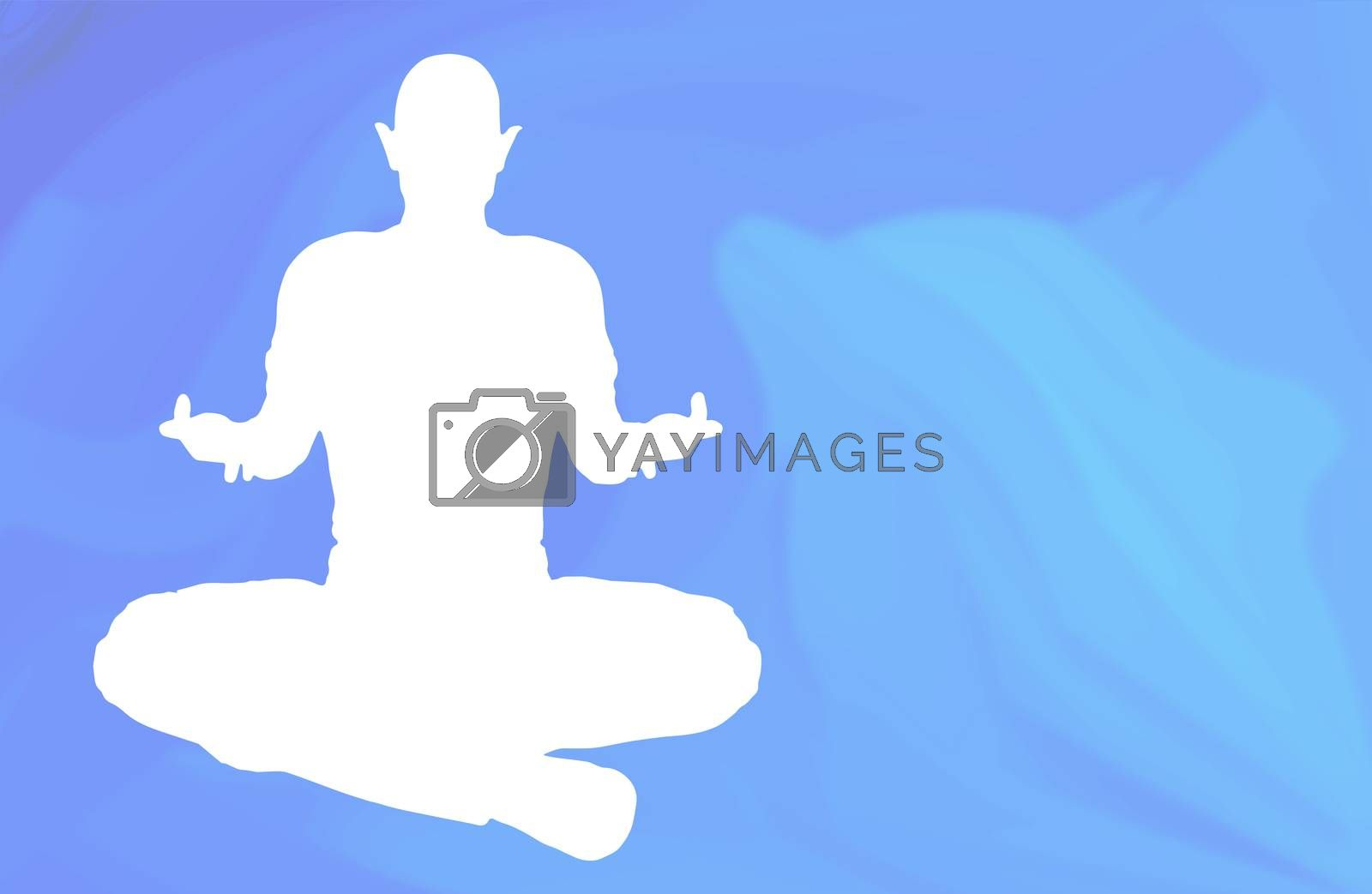 Sukhasana asana being posed against a dolphin ocean background
