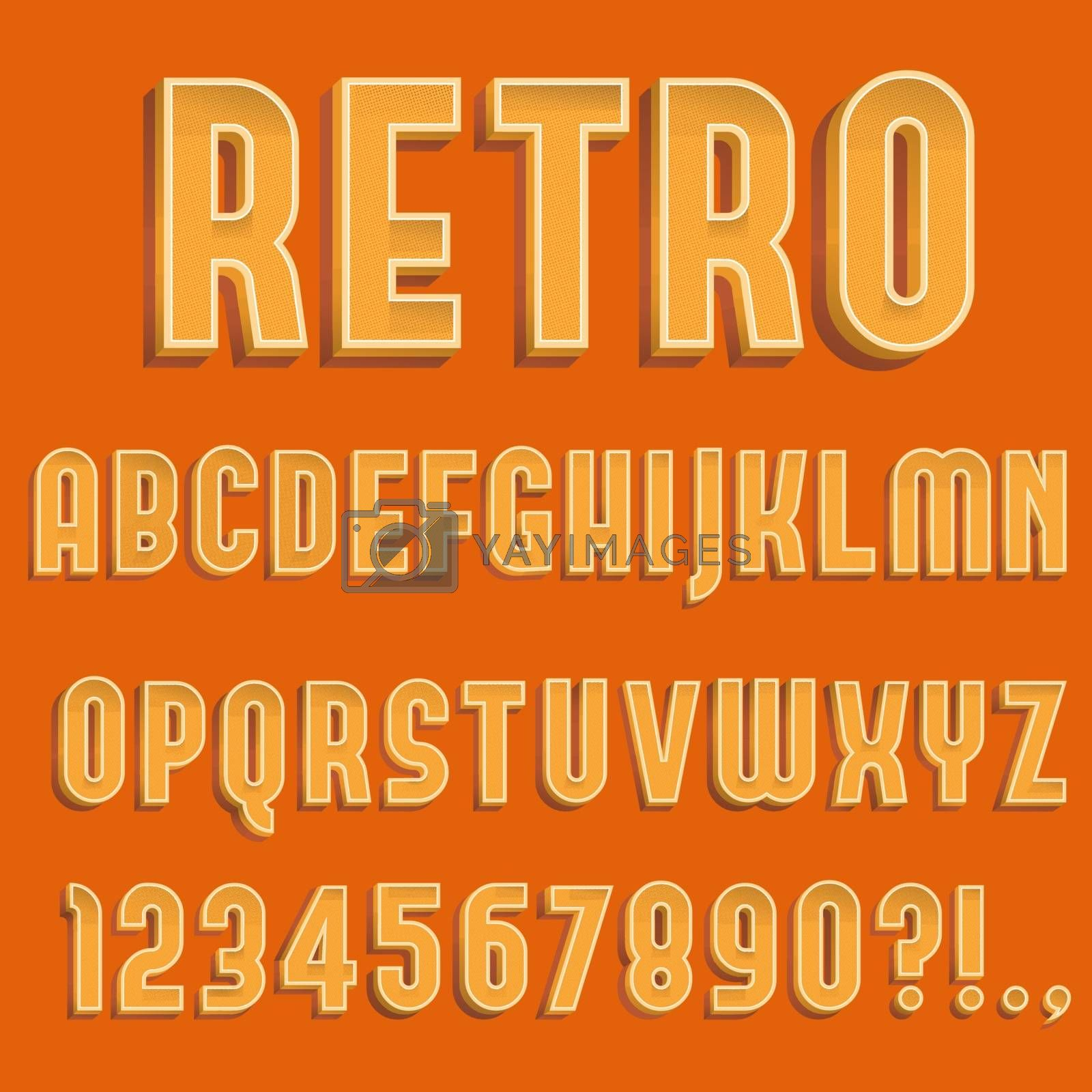 Retro 3D Alphabet Letters, Numbers and Symbols. Retro Typography with Rich Colors. Vector