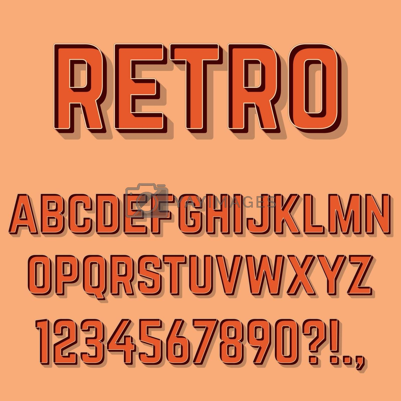 Retro 3D Alphabet Letters, Numbers and Symbols. Retro Typography . Vector