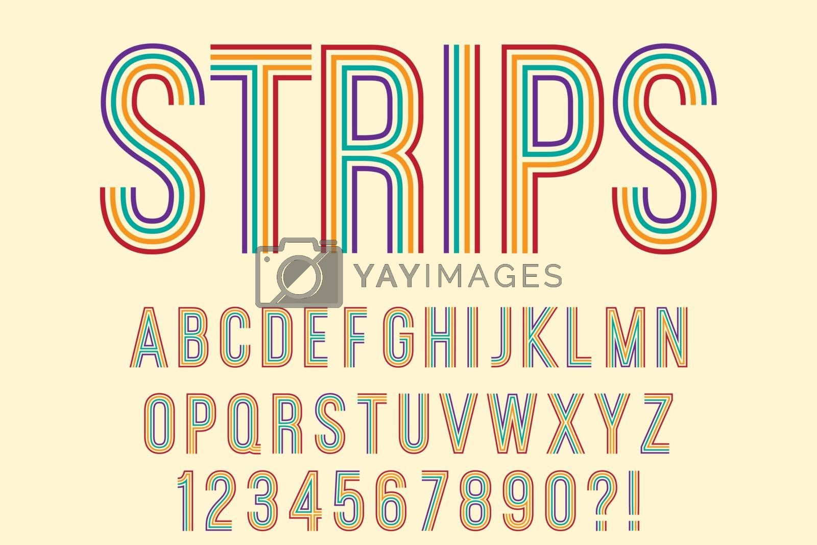 Modern with strips Alphabet Letters, Numbers and Symbols. Funny Typography . Vector