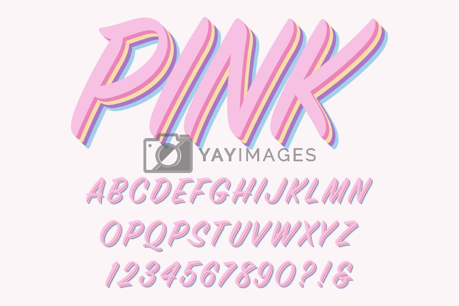 Modern 3D pink Alphabet Letters, Numbers and Symbols. Sweet Typography . Vector