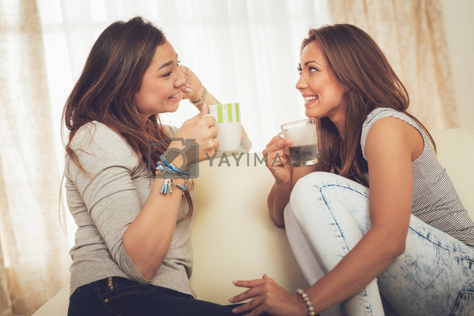 Two young cheerful female friends enjoying coffee and talking in an apartment.