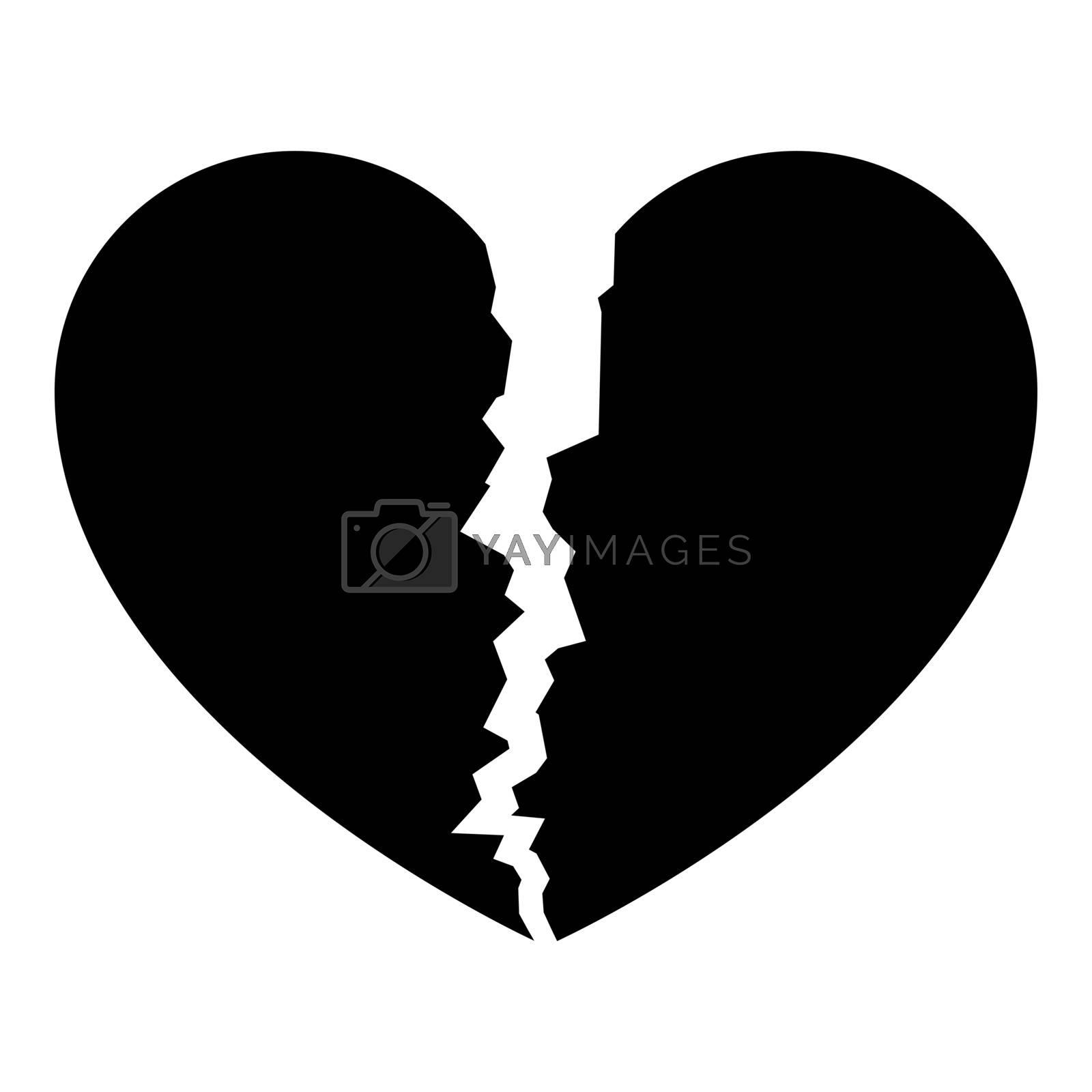 Broken heart icon black color vector illustration flat style simple image