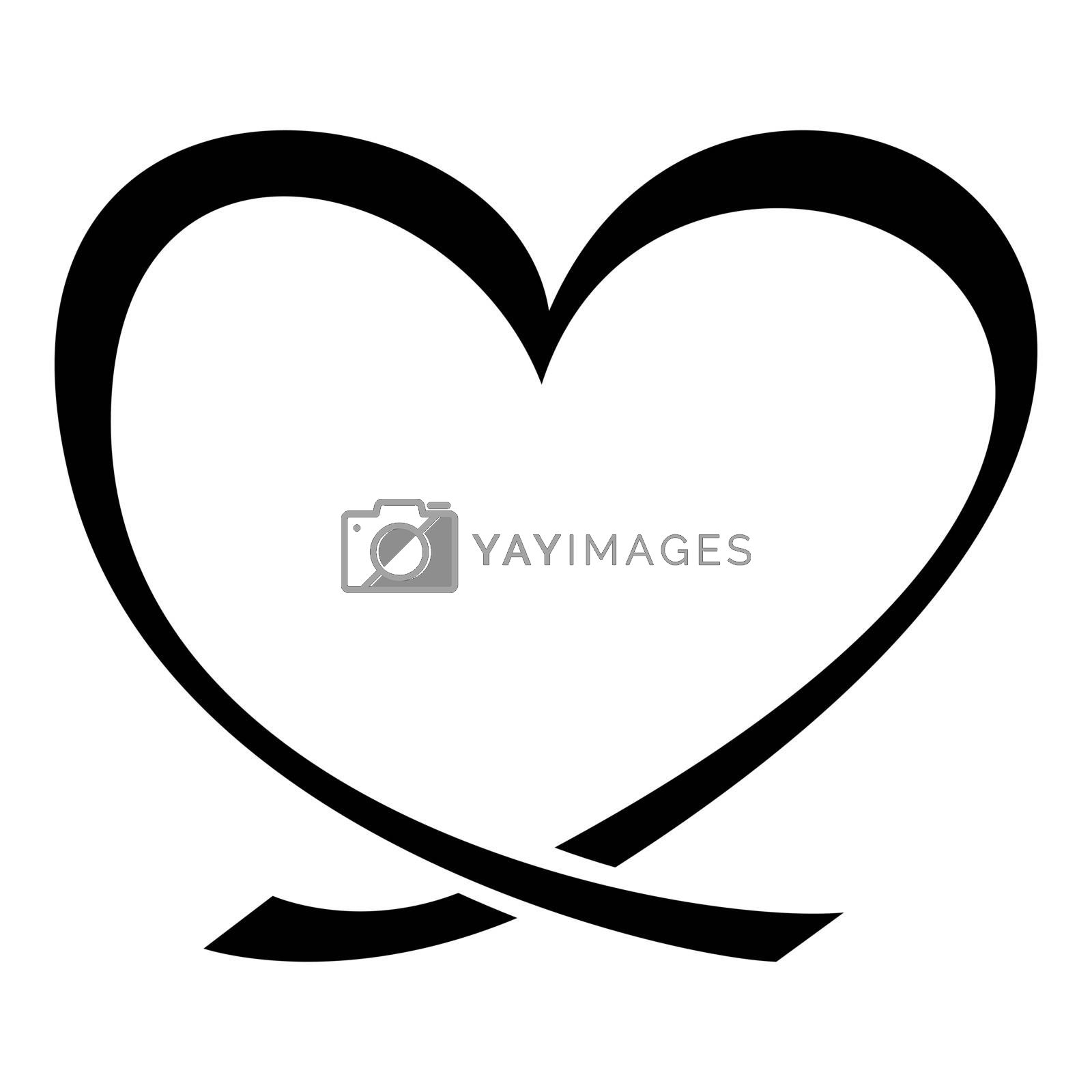 Ribbon heart icon black color vector illustration flat style simple image