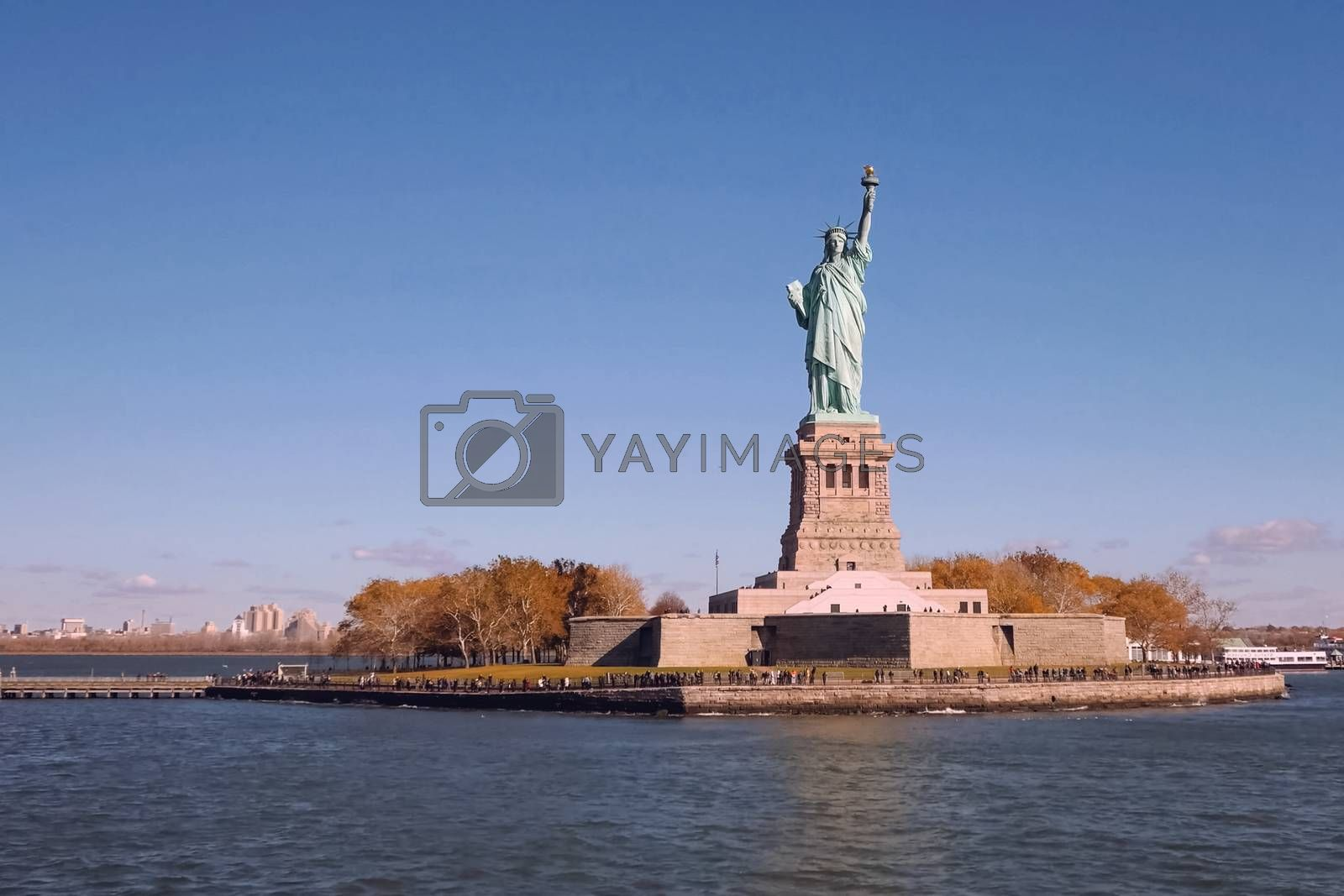 New York, USA - October 15, 2017: Statue of Liberty is the symbol of America. Free people. The symbol of freedom.