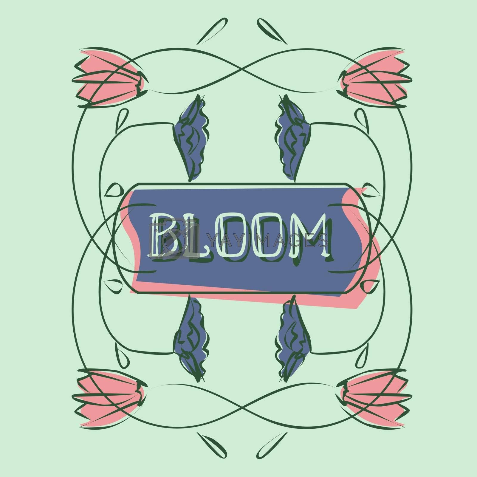 Spring greeting card template in halftones with text 'bloom' and simple hand drawn pink and blue flowers on mint green background