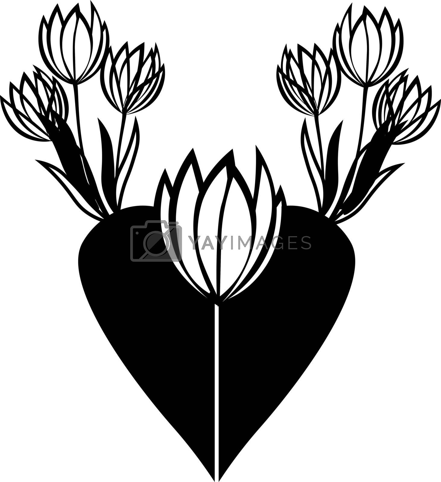 Simple sketch of seven contour black and white minimalistic tulips