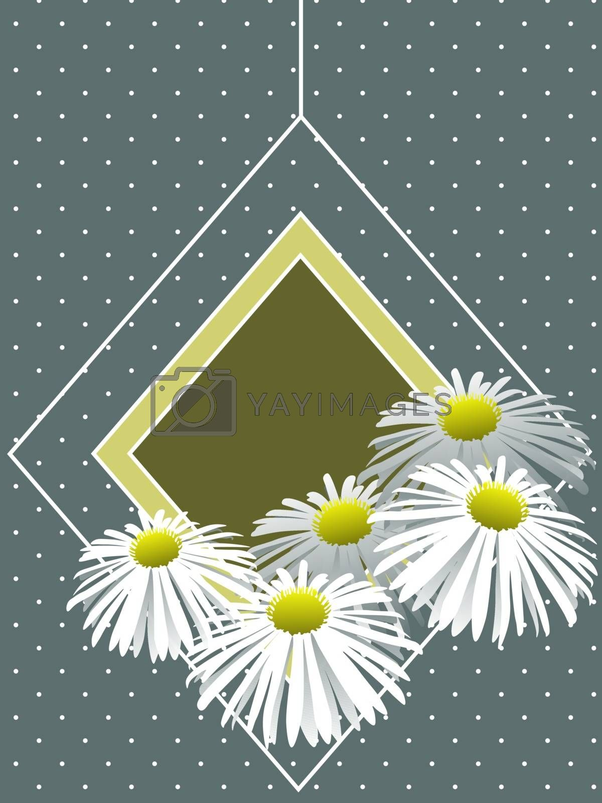 Modest and cute greeting card template with chamomiles on blue dotted background