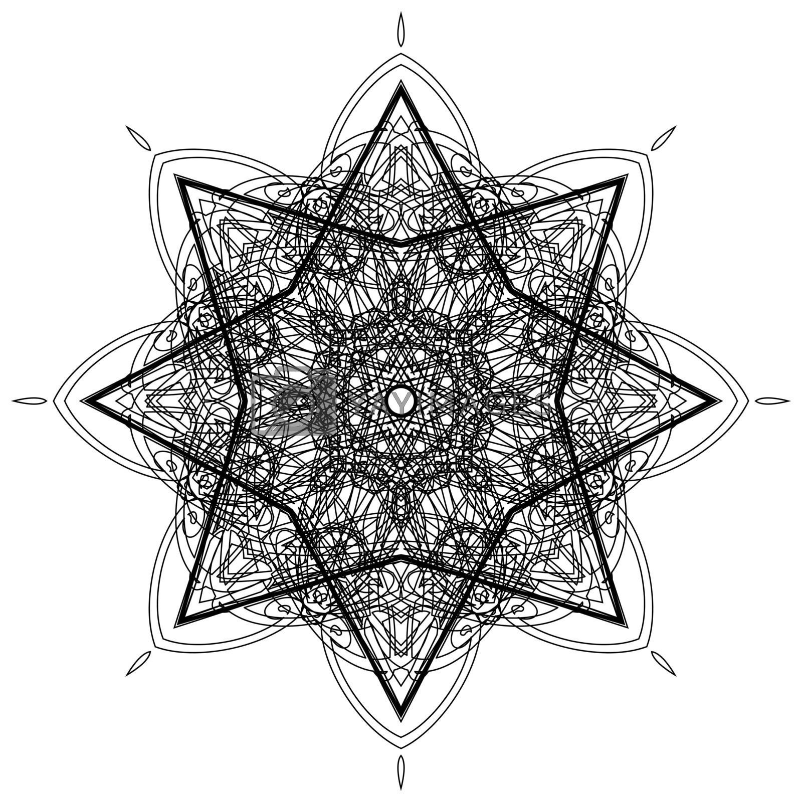 Sketch of delicate abstract black hexagon mandala in gothic style