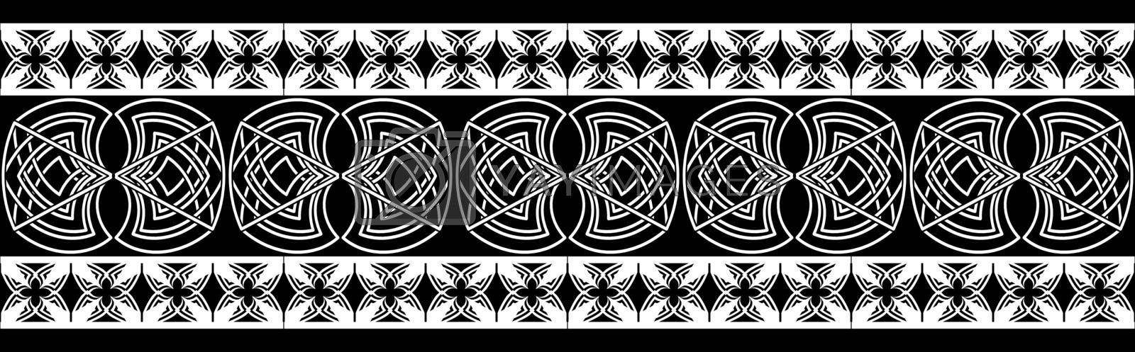 Black and white seamless ornament in old scandinavian or celtic style