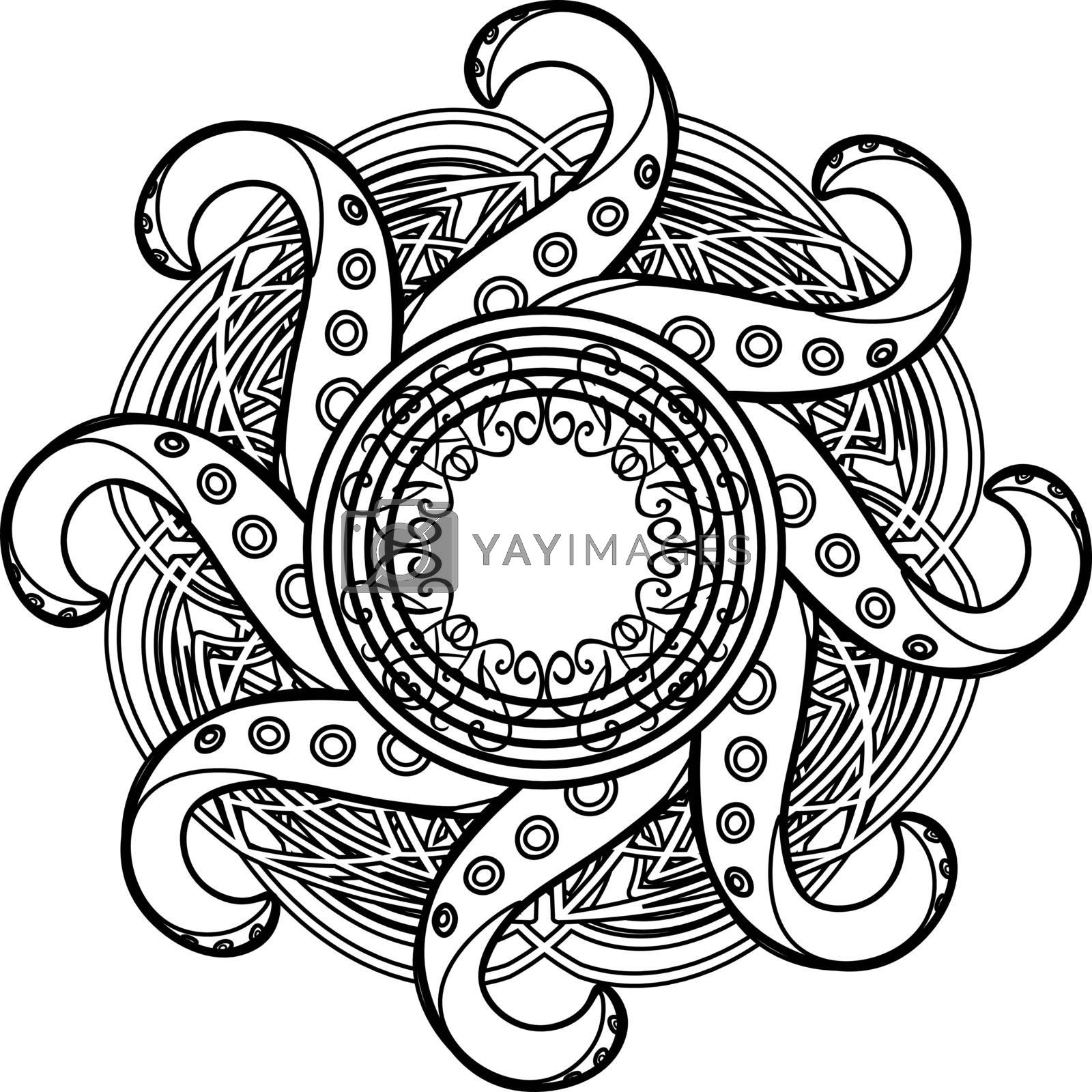 Abstract black and white gothic mandala with celtic tracery and octopus tentacles