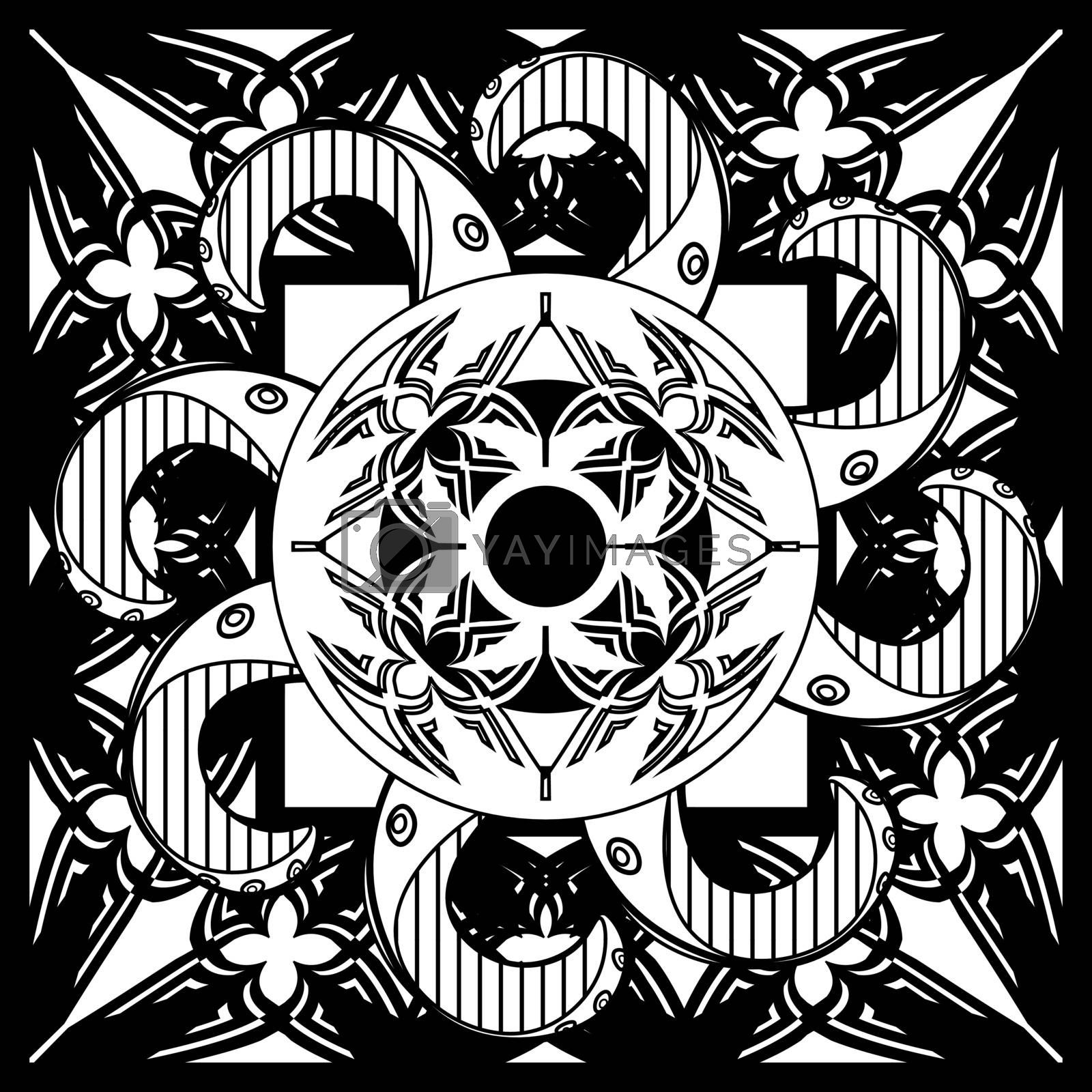 Abstract black and white motif with gothic tracery and octopus tentacles