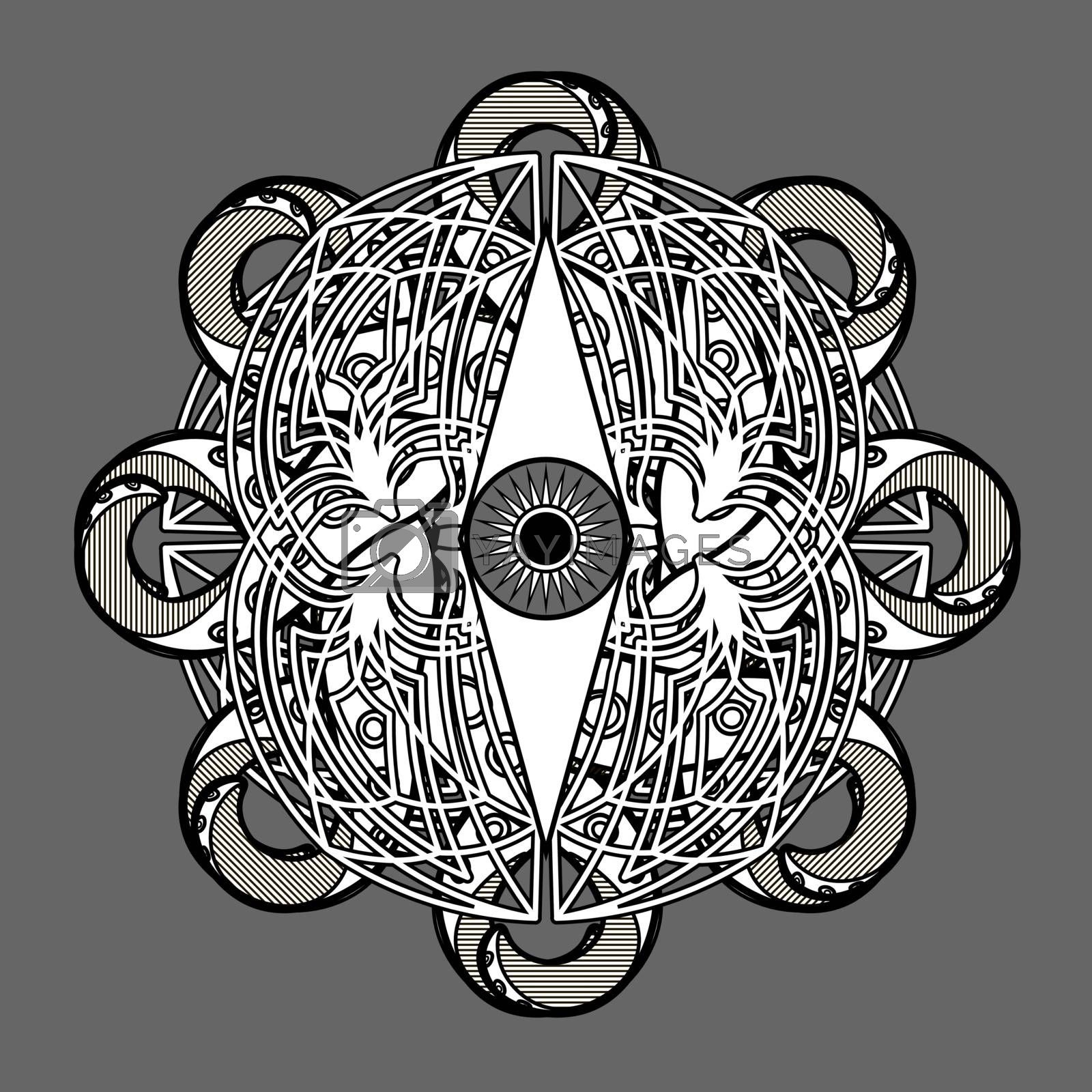and crossed tentacles on grey background