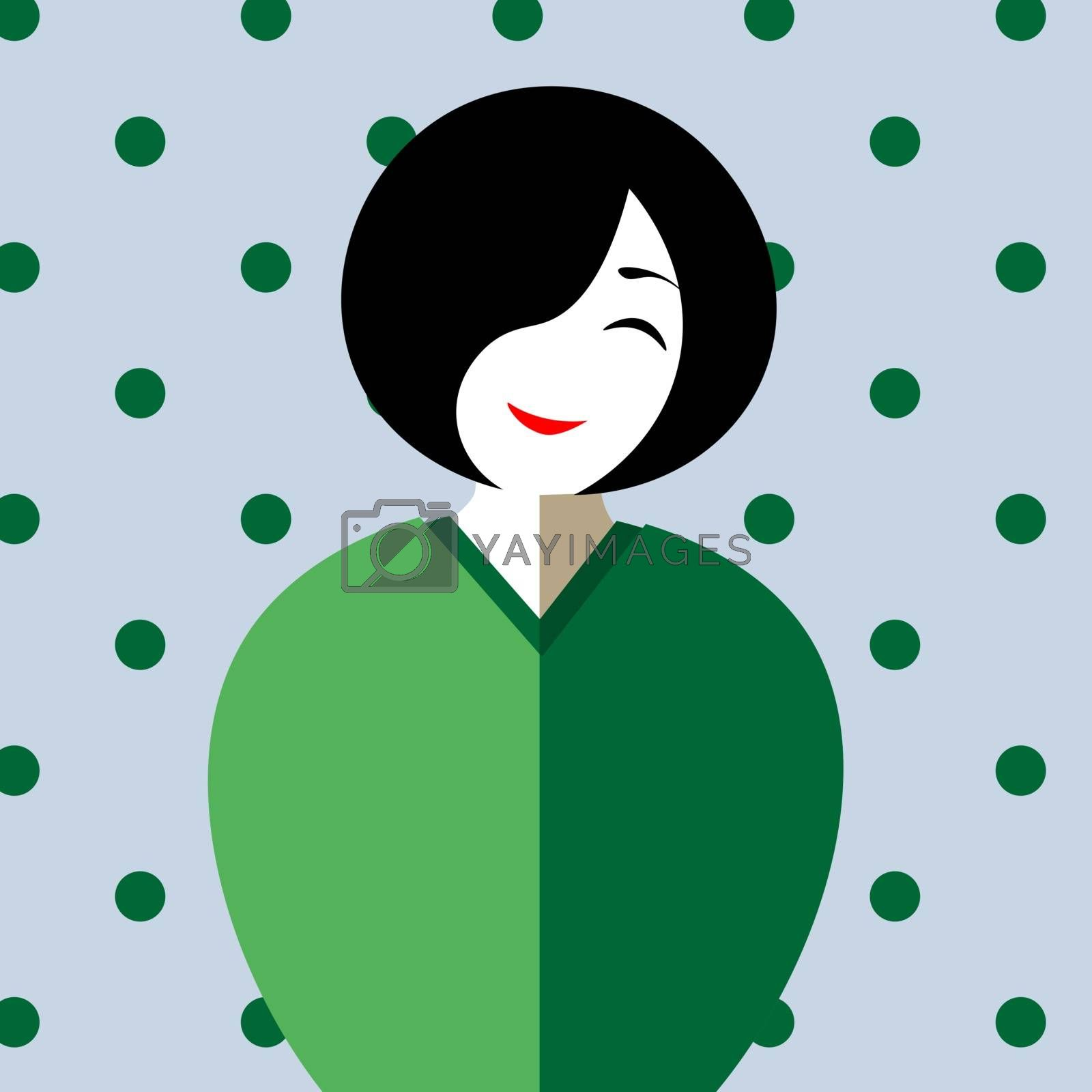 Cute cartoon asian lady with short hair in kimono smiling