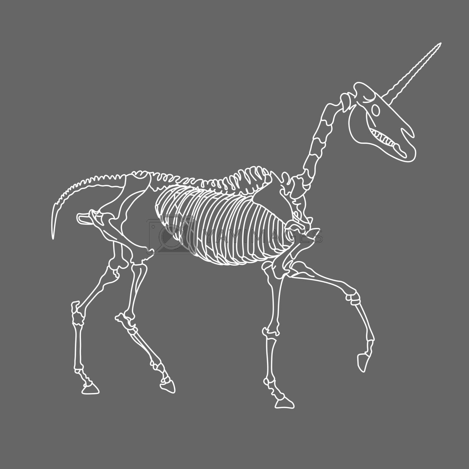 Line art of white running unicorn skeleton on grey background