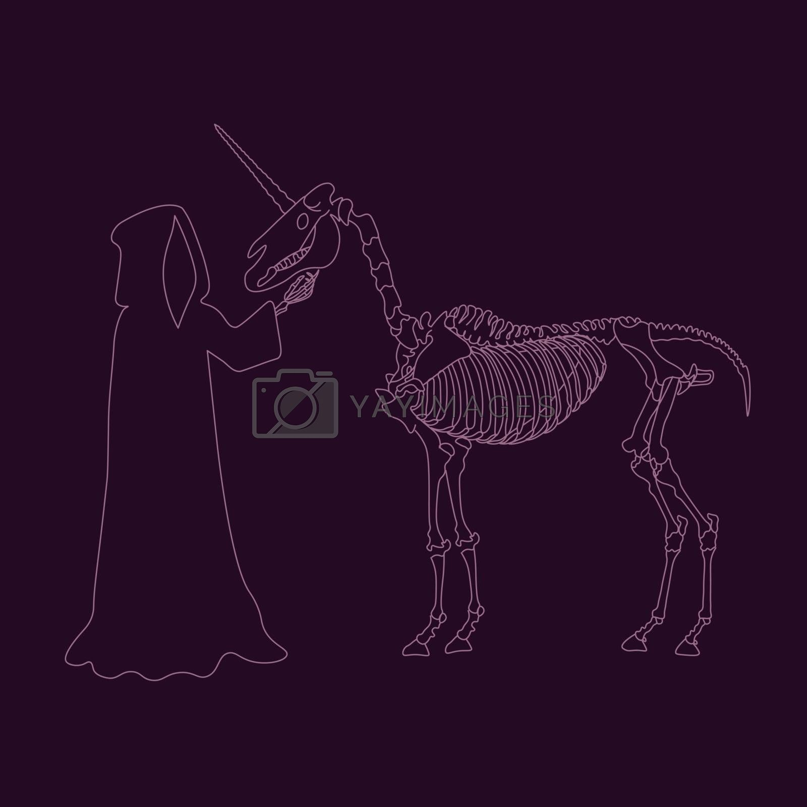 Line art with grim reaper petting a unicorn skeleton on violet background