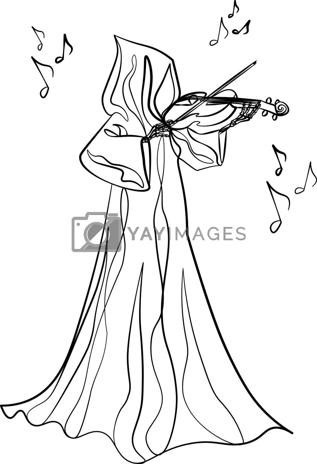 Music of death - contour grim reaper playing on violin