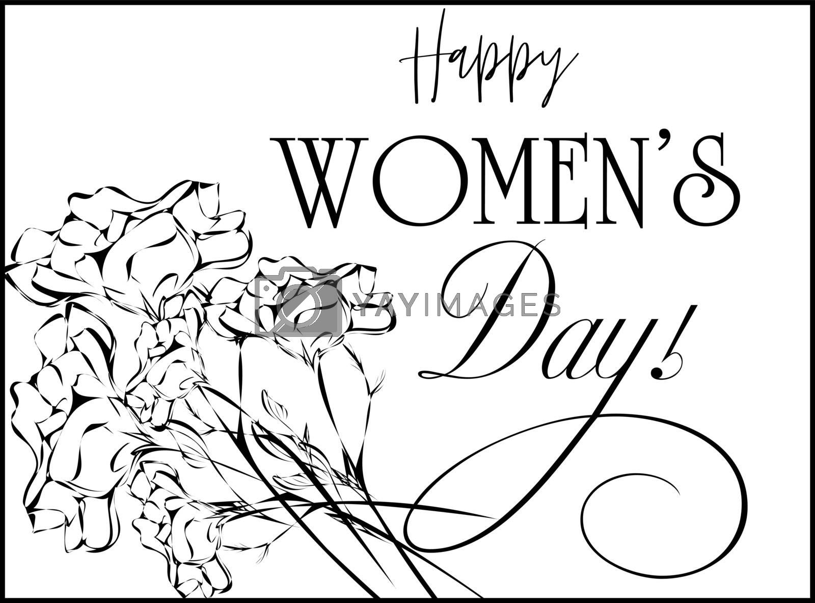 Black and white sketch postcard with carnations in retro style, text 'happy women's day'
