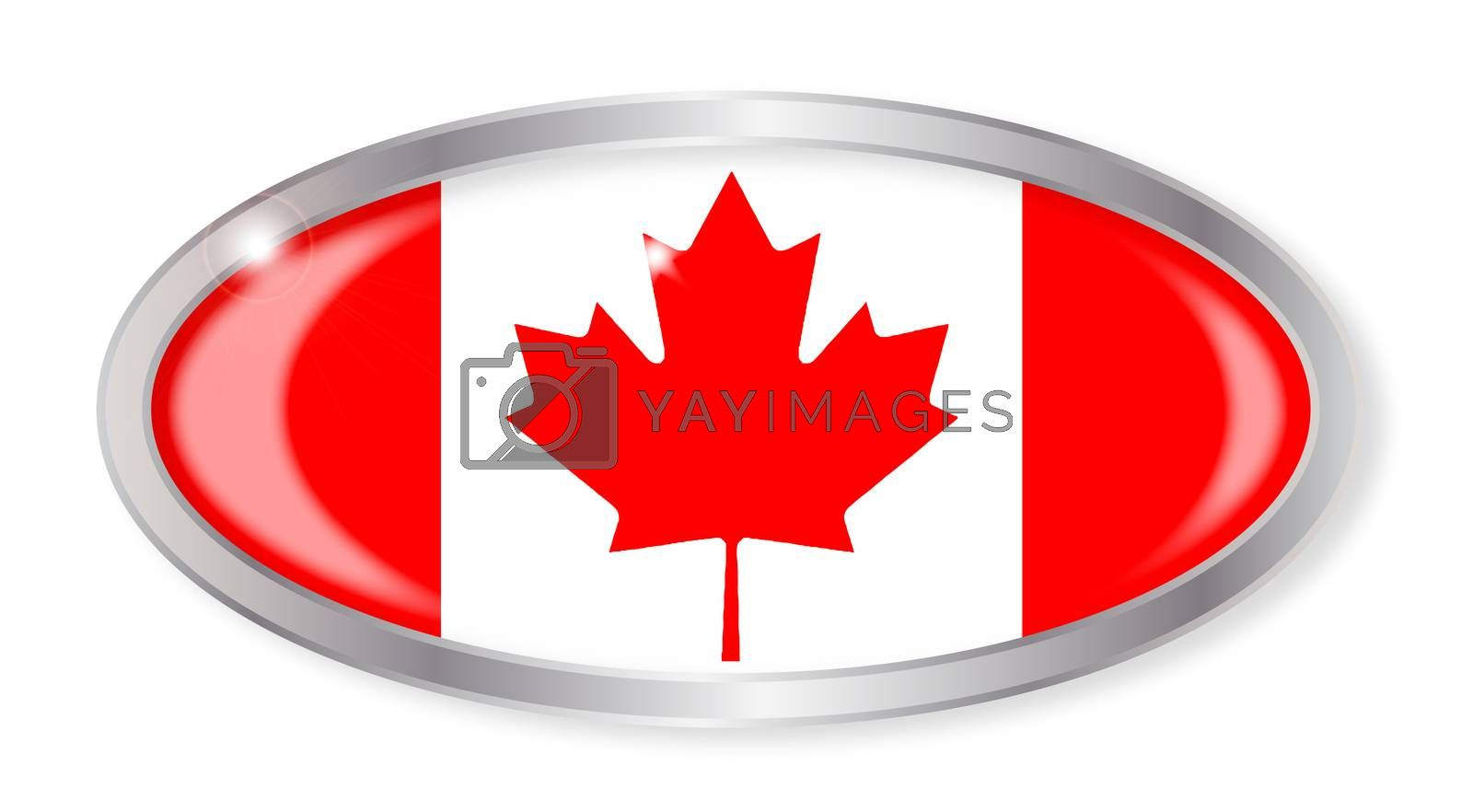 Oval silver button with the Canadian flag isolated on a white background