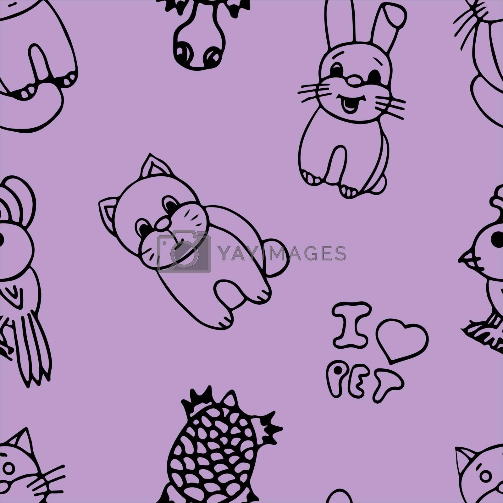 The pets seamless pattern on color background. by Rina_Dozornaya