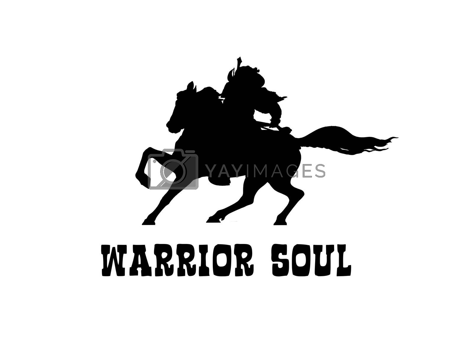 Perseverance or motivational concept warrior at horse graphic illustration shape in black and white colors