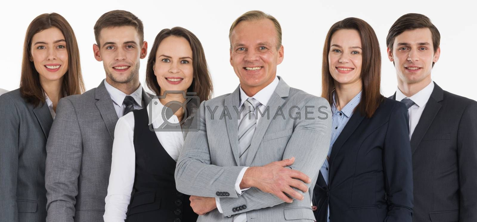 Group of business people isolated over white background