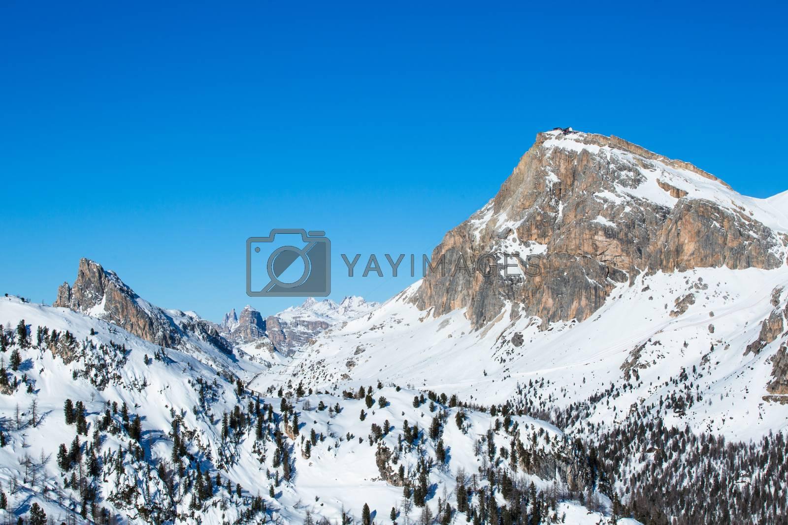 Dolomities Dolomiti Italy in wintertime beautiful alps winter mountains and ski slope Cortina d'Ampezzo Col Gallina mountain peaks famous landscape skiing resort area