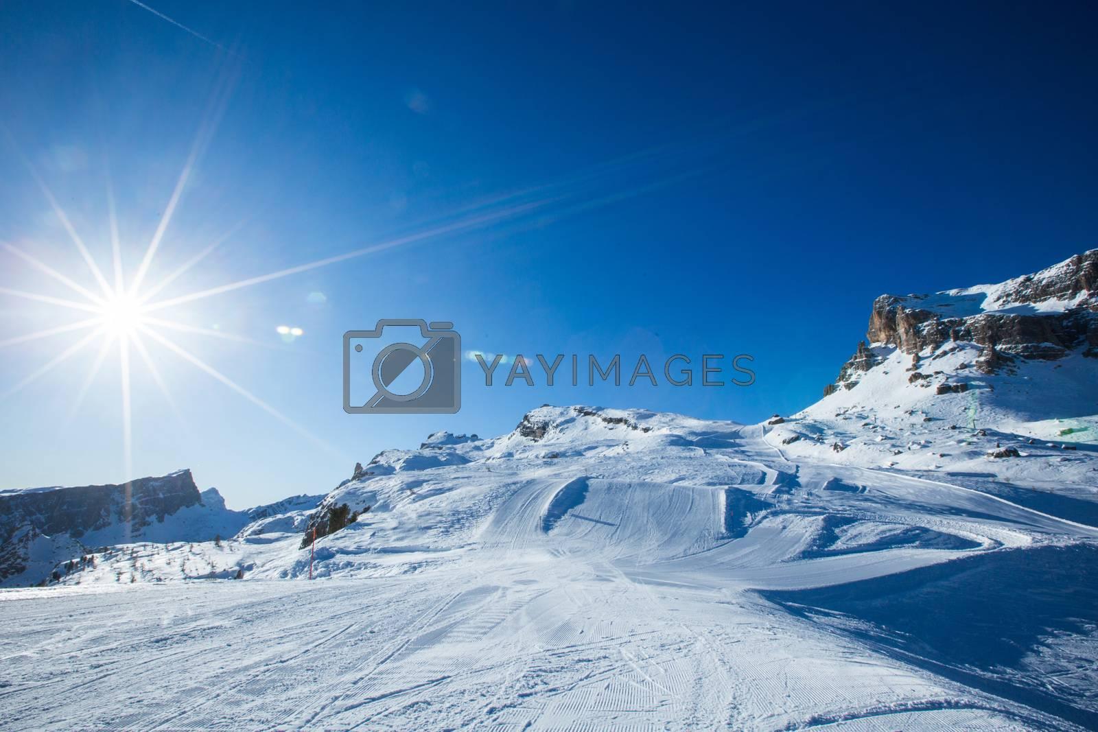 Dolomities Dolomiti Italy in wintertime beautiful alps winter mountains and ski slope Cortina d'Ampezzo Cinque torri mountain peaks famous landscape skiing resort area