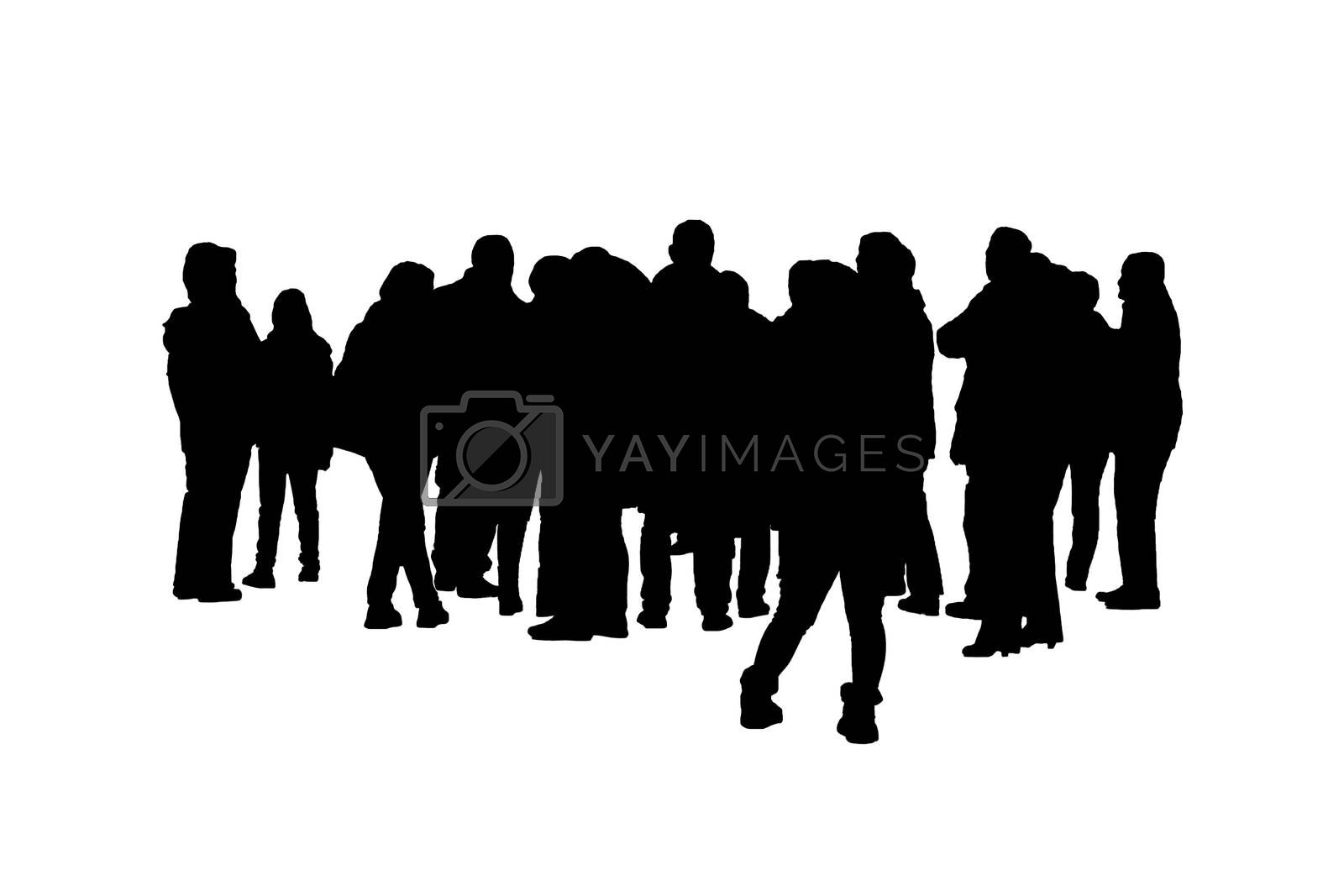 Panoramic isolated graphic silhouette of a group of standing people over white background