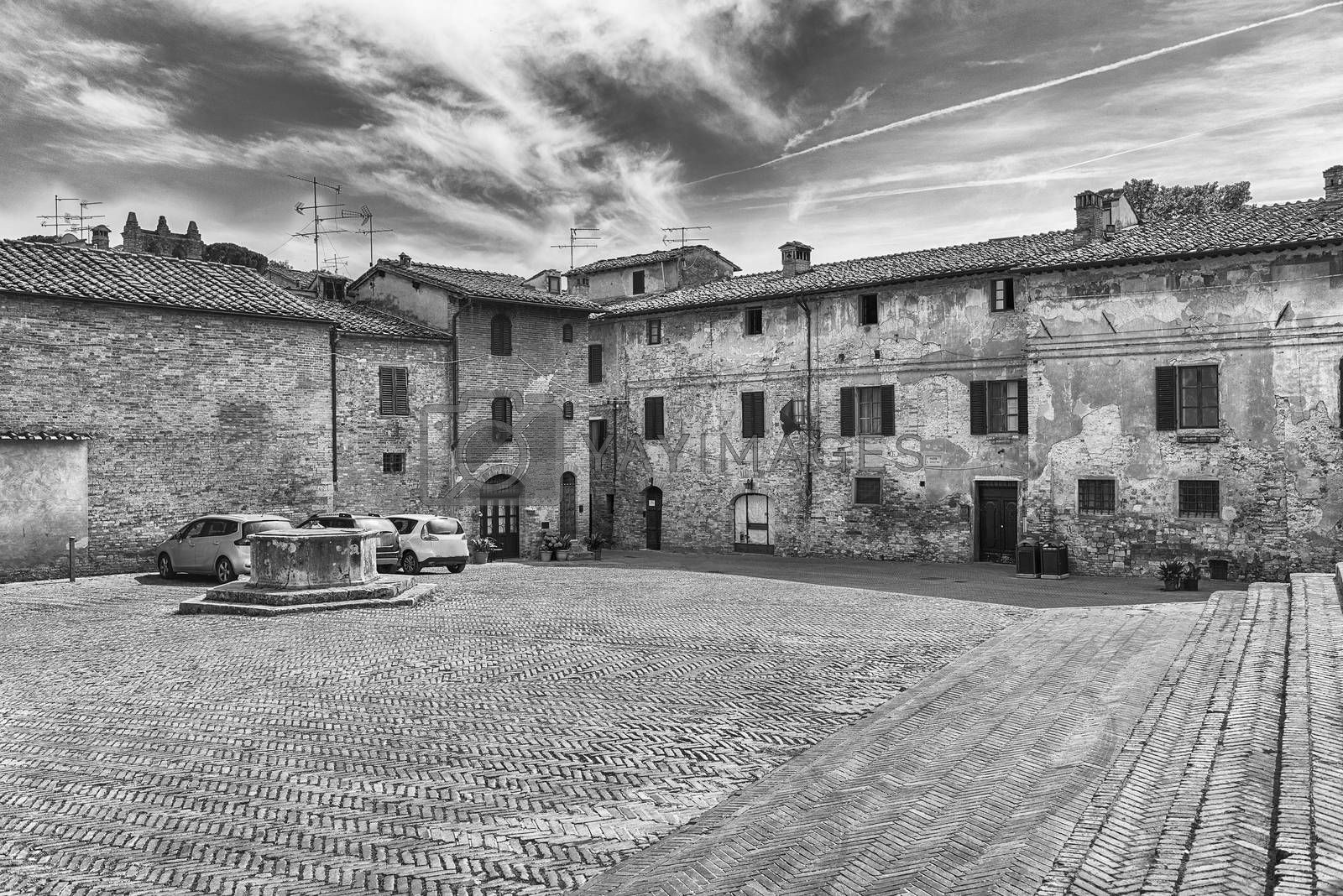 View of Sant'Agostino square in the medieval town of San Gimignano, Italy