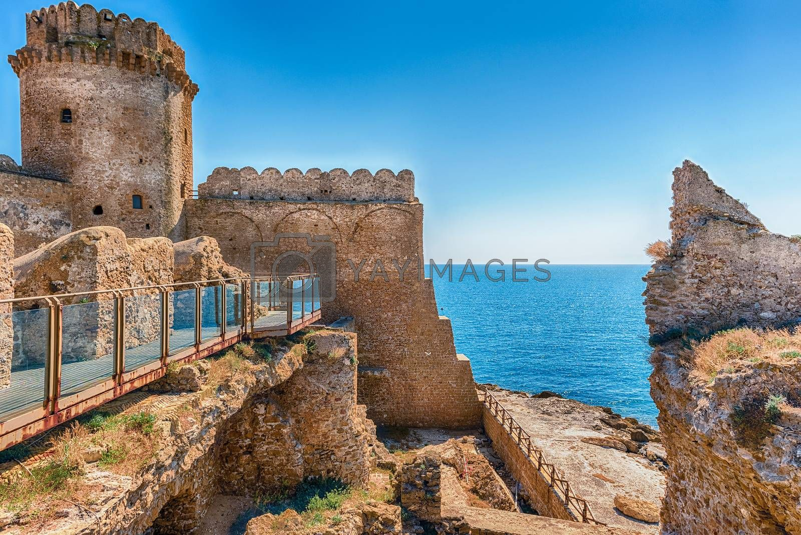 View of the scenic Aragonese Castle, aka Le Castella, on the Ionian Sea in the town of Isola di Capo Rizzuto, Italy