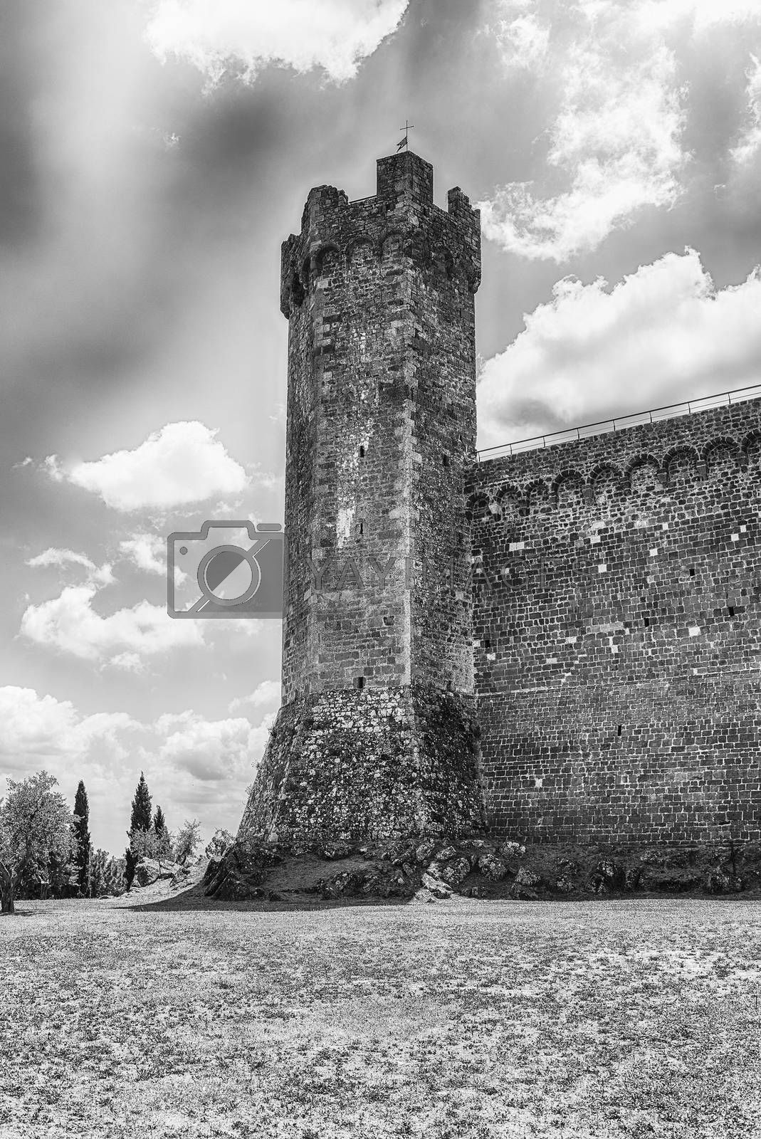 Medieval italian fortress, iconic landmark and one of the most visited sightseeing in Montalcino, Tuscany, Italy