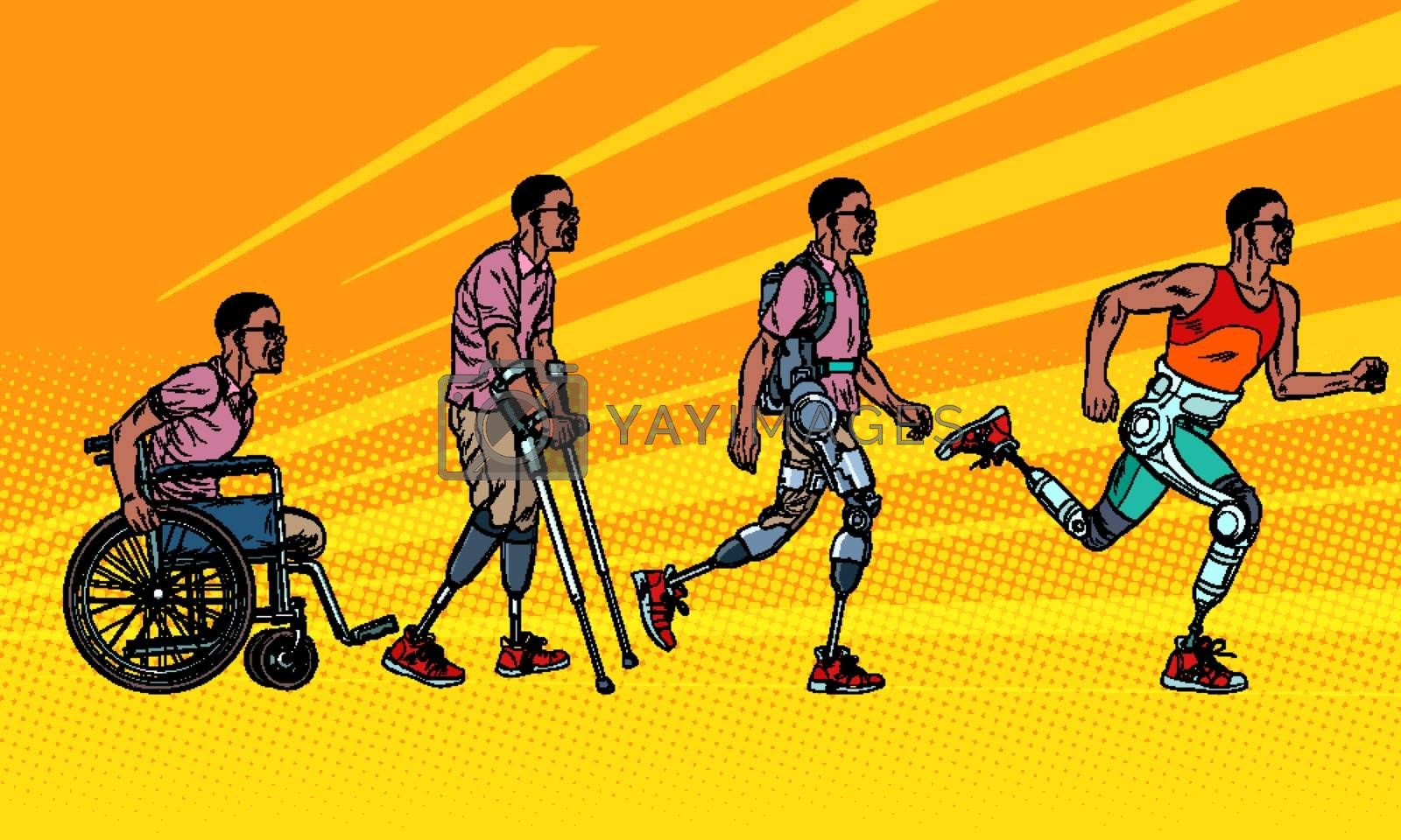 Evolution of rehabilitation. african man leg prosthesis. Pop art retro vector illustration vintage kitsch 60s 50s