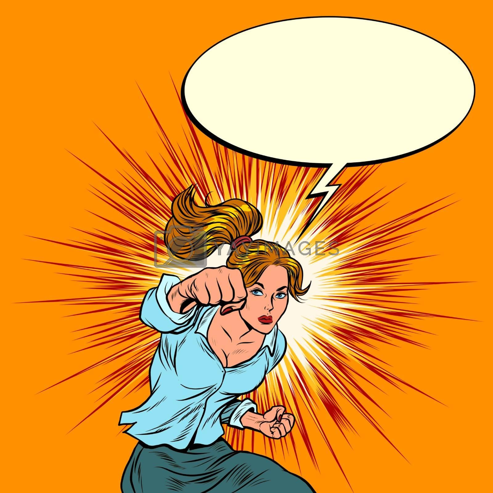 Female force is a blow. Feminism. Pop art retro vector illustration kitsch vintage 50s 60s