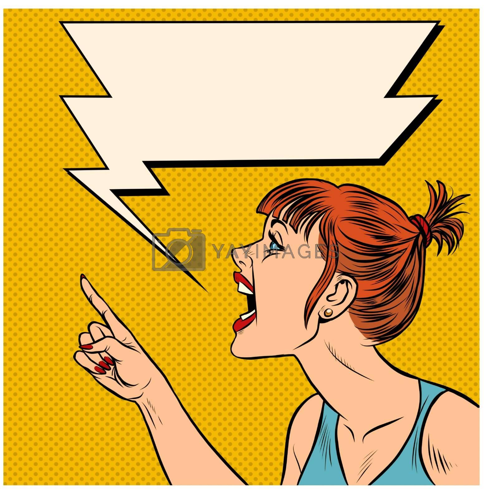 Angry woman threatens finger. Pop art retro vector illustration kitsch vintage 50s 60s