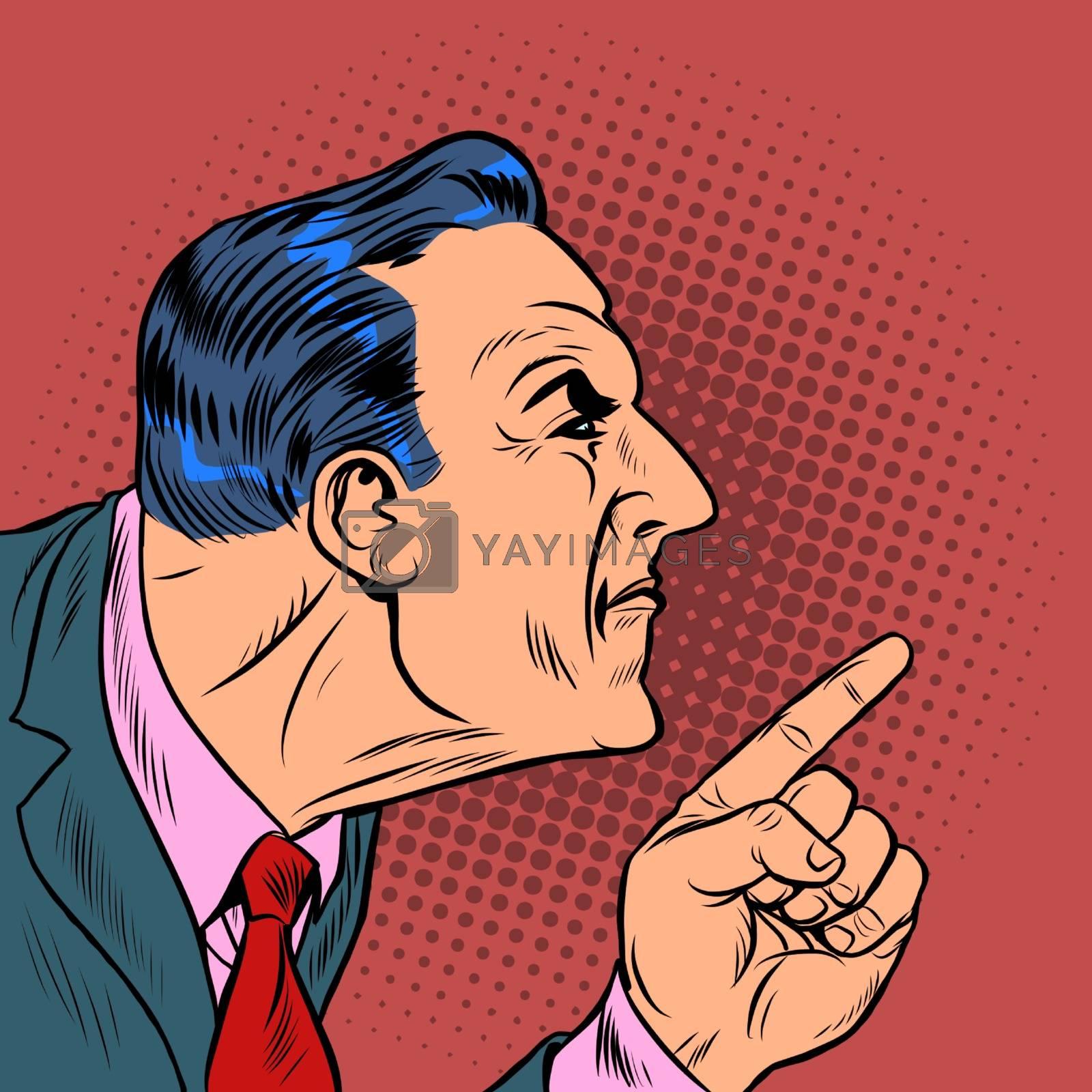 Angry man points finger. Pop art retro vector illustration kitsch vintage 50s 60s