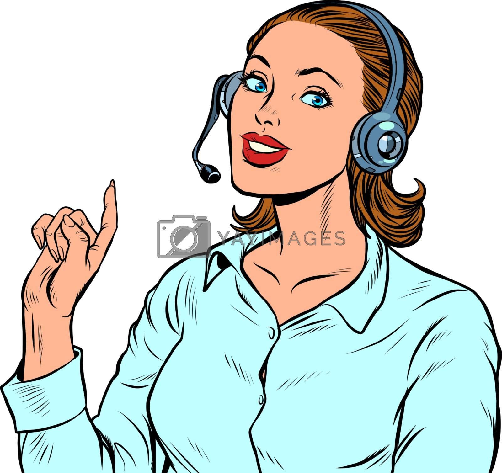 A female telecom operator. Telephone support. Pop art retro vector illustration kitsch vintage 50s 60s
