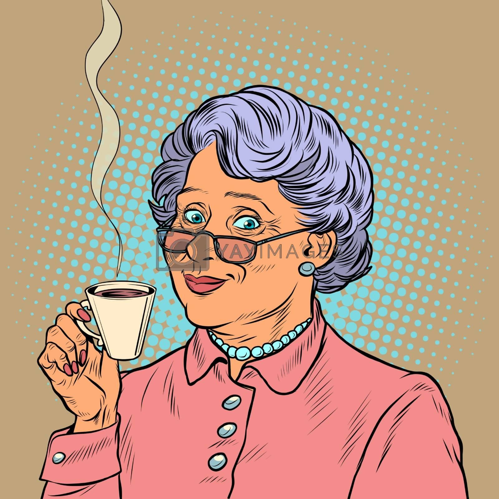 Elderly woman drinking coffee. Pop art retro vector illustration 50s 60s style