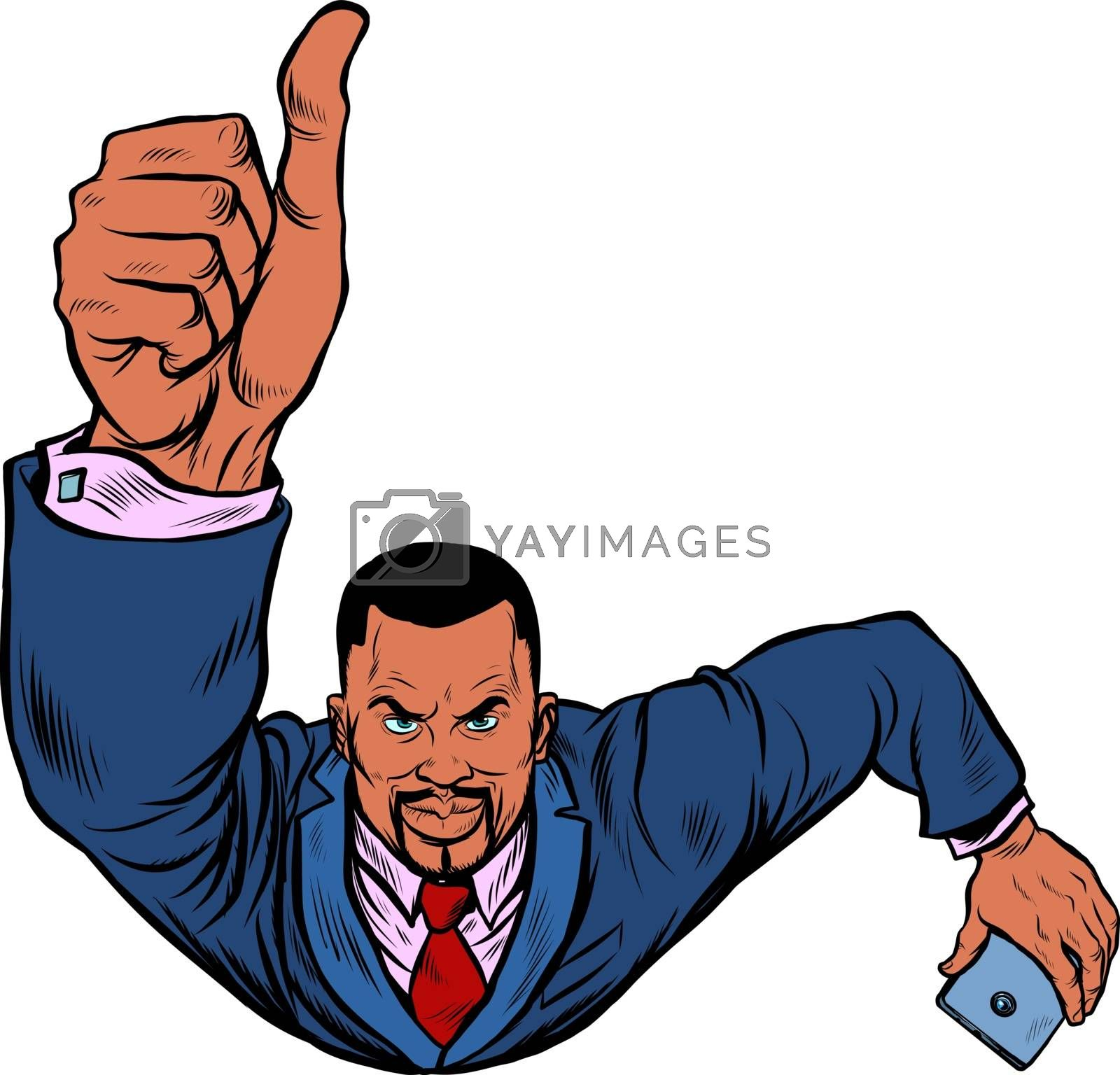 African businessman with a smartphone like, thumbs up. Flying like a superhero. Pop art retro vector illustration 50s 60s style