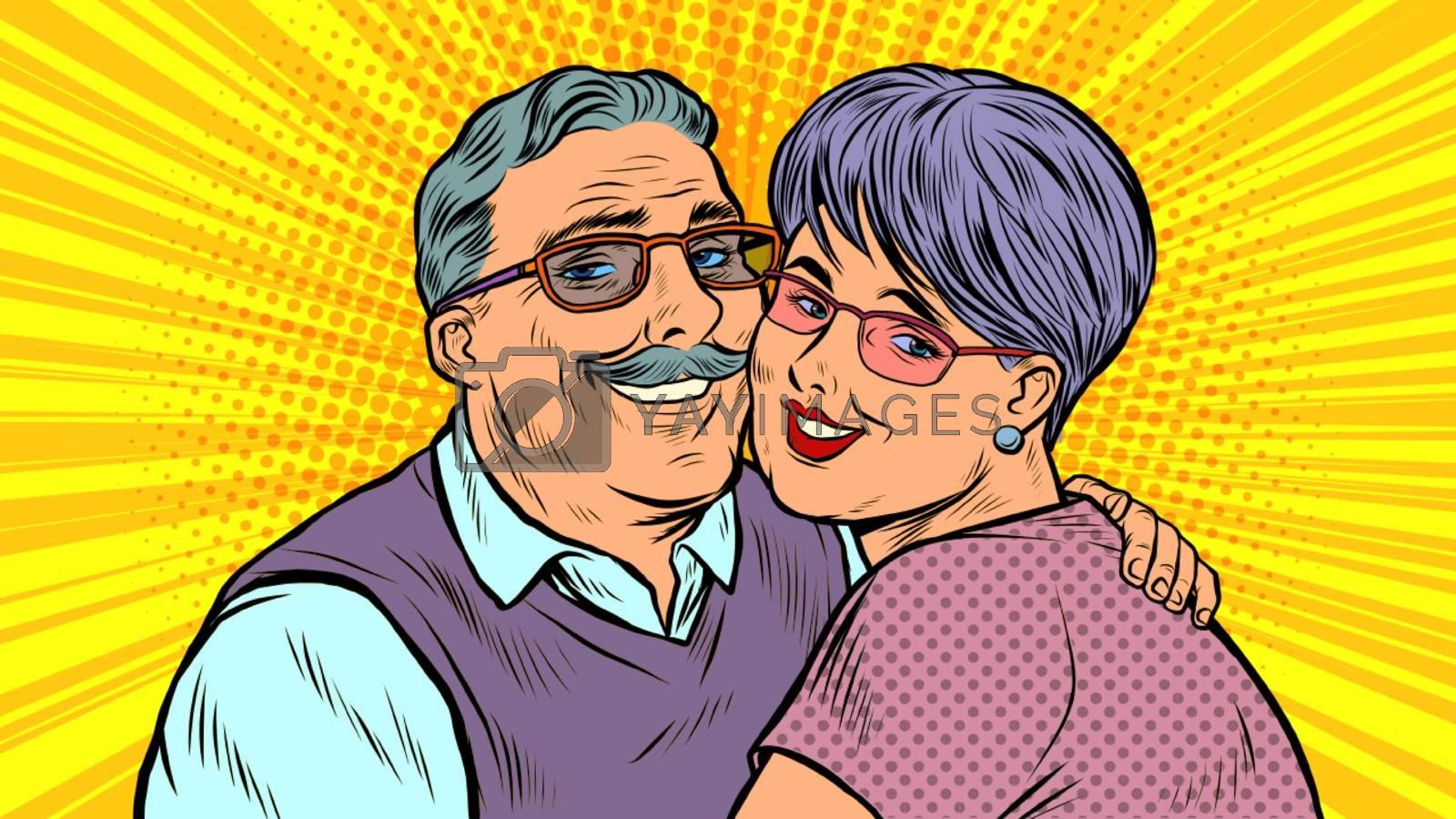 Elderly couple in love, grandparents. Pop art retro vector illustration 50s 60s style