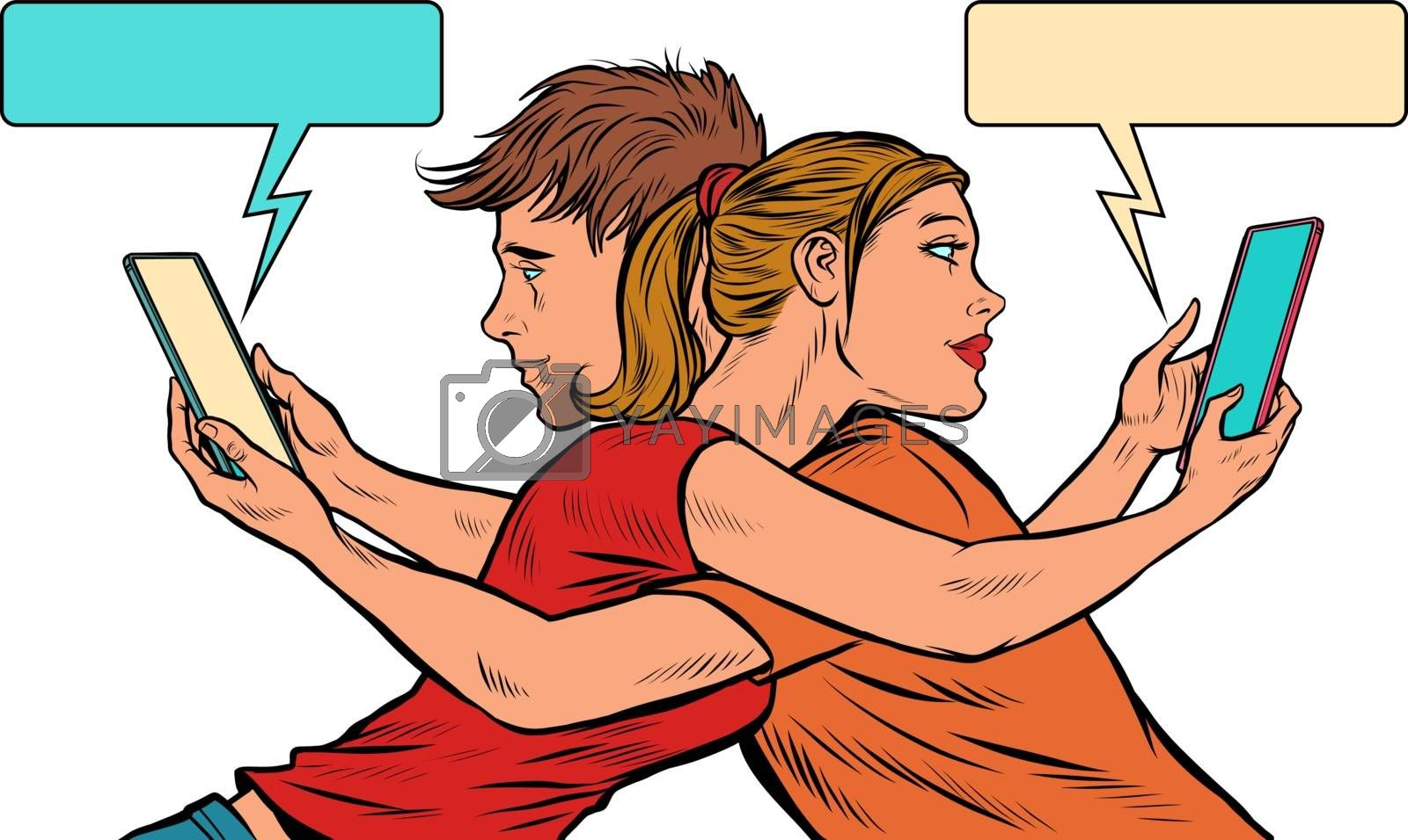 A couple of young men and a girl with smartphones. Pop art retro vector illustration 50s 60s style
