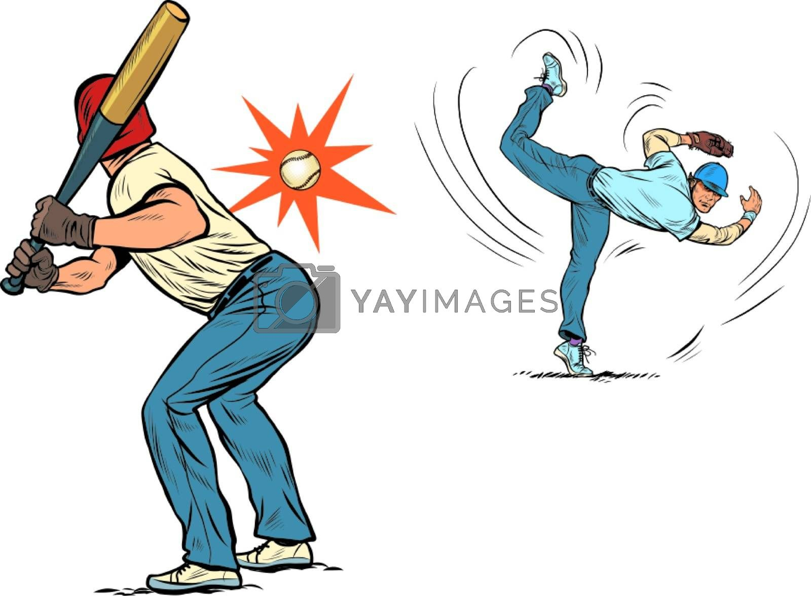 Game of baseball. The pitcher throws the ball. Pop art retro vector illustration 50s 60s style
