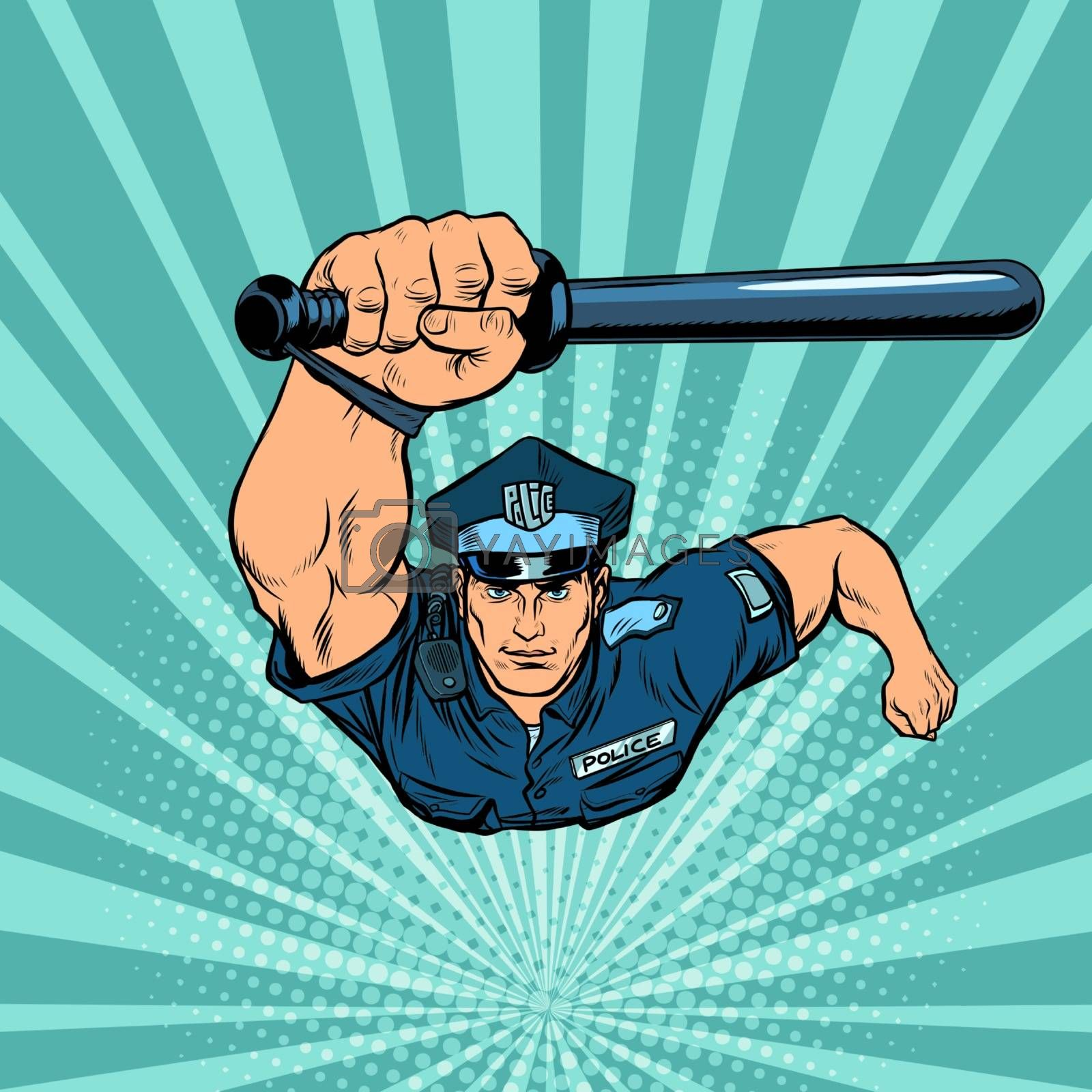 Police officer with a baton. Pop art retro vector illustration 50s 60s style