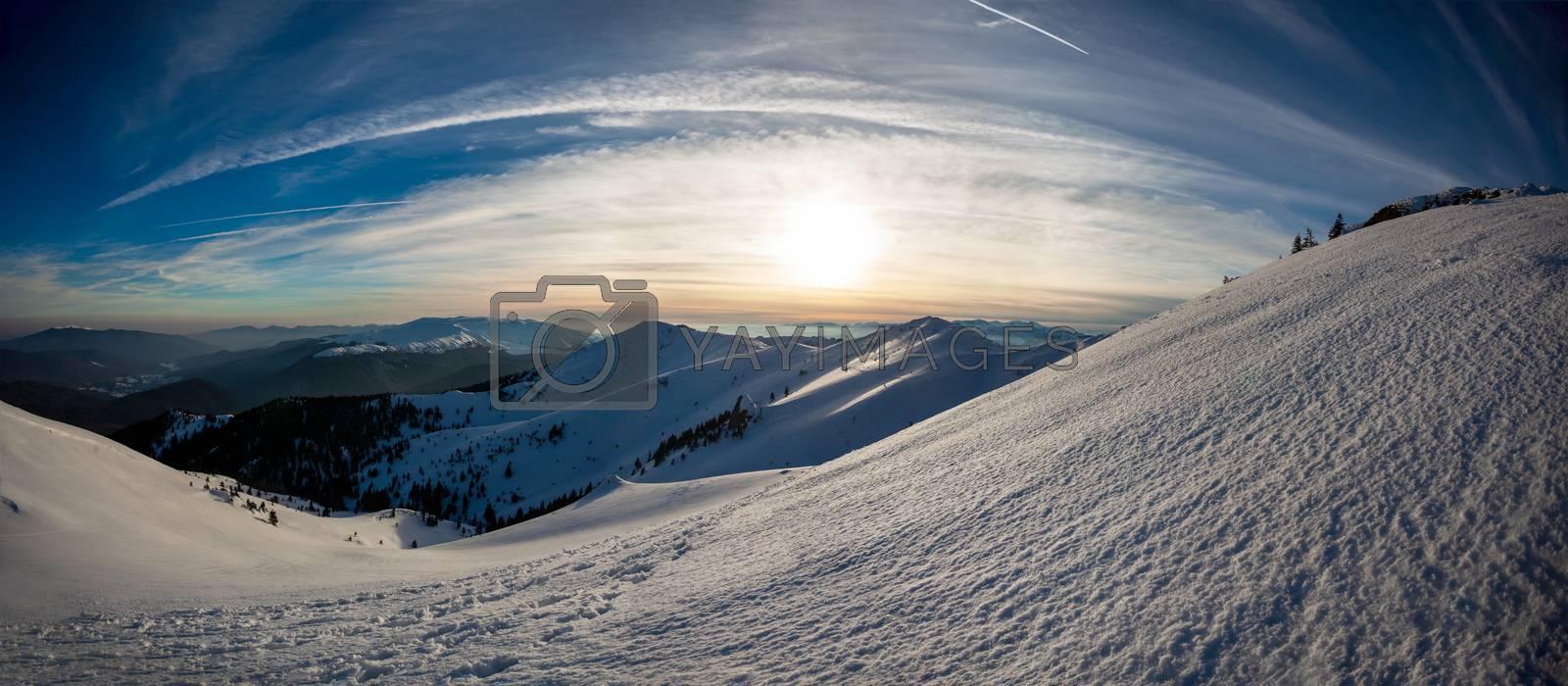 Panoramic view of Mount Ciucas on winter, part of Romanian Carpathian Range