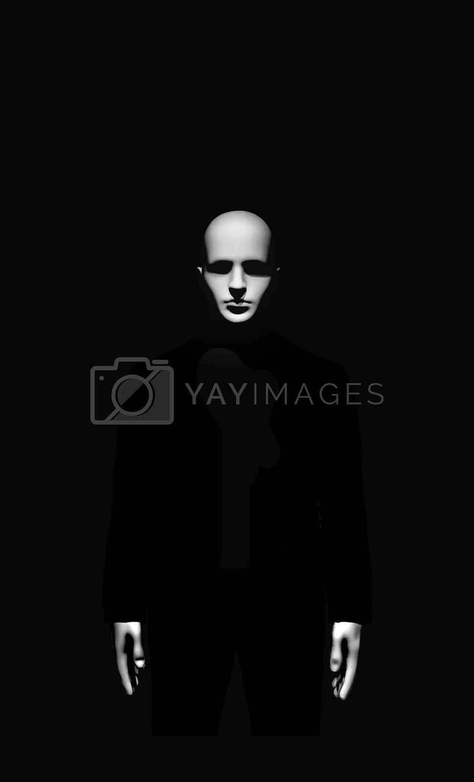 Minimal black style high constrat scary man portrait artwork in black and white colors